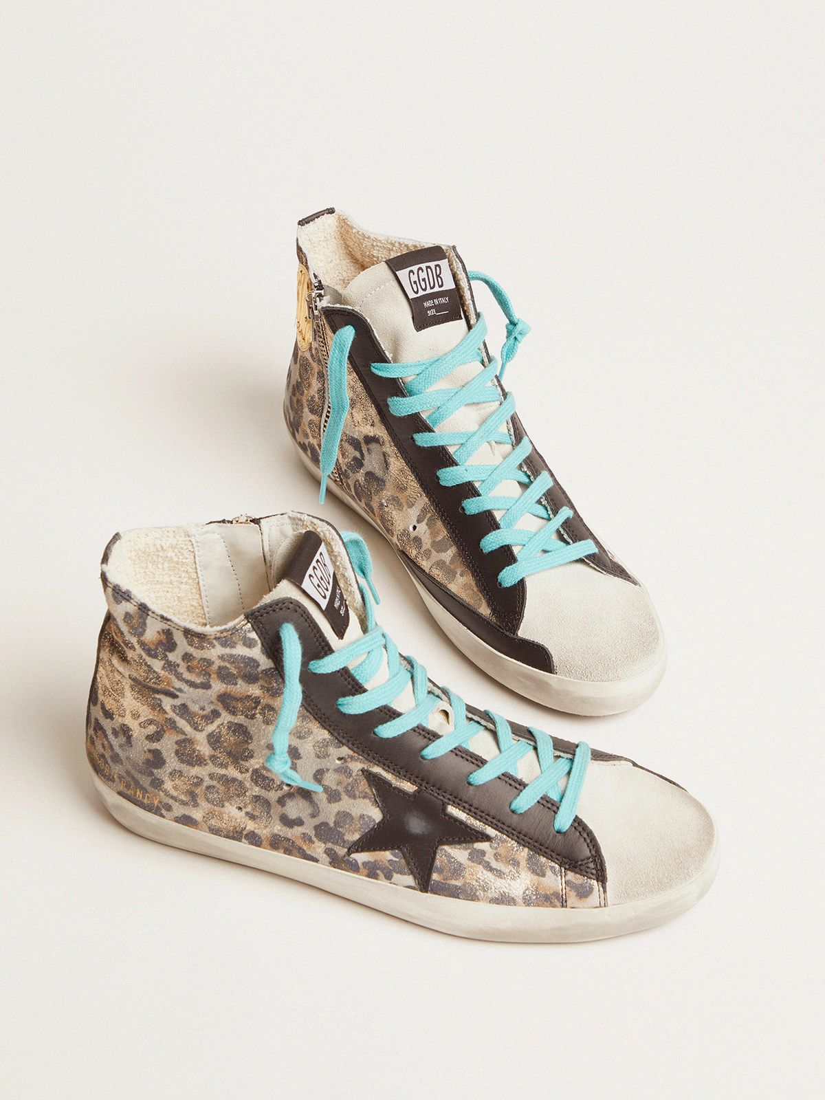 Golden Goose - Leopard-print Francy sneakers with blue laces in