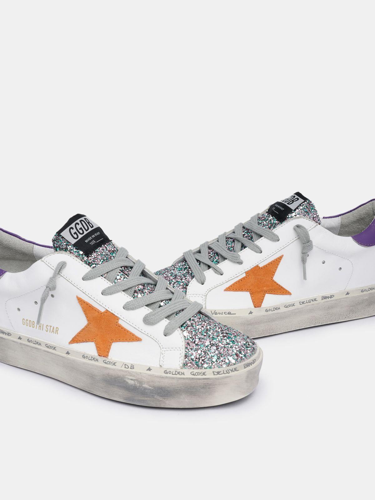 Golden Goose - White Hi Star sneakers with glitter insert in