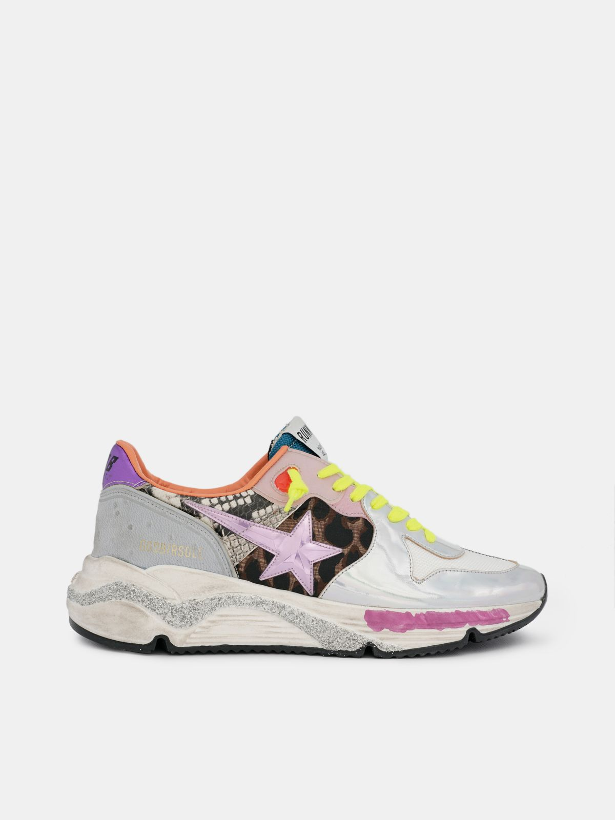 Golden Goose - Holographic Running Sole sneakers with animal-print inserts in
