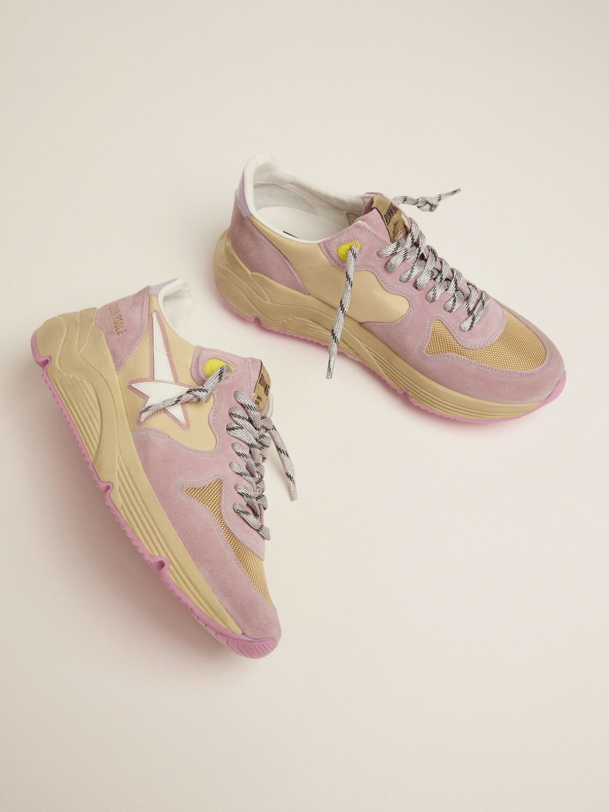 Golden Goose - Pastel pink Running Sole sneakers with white star in
