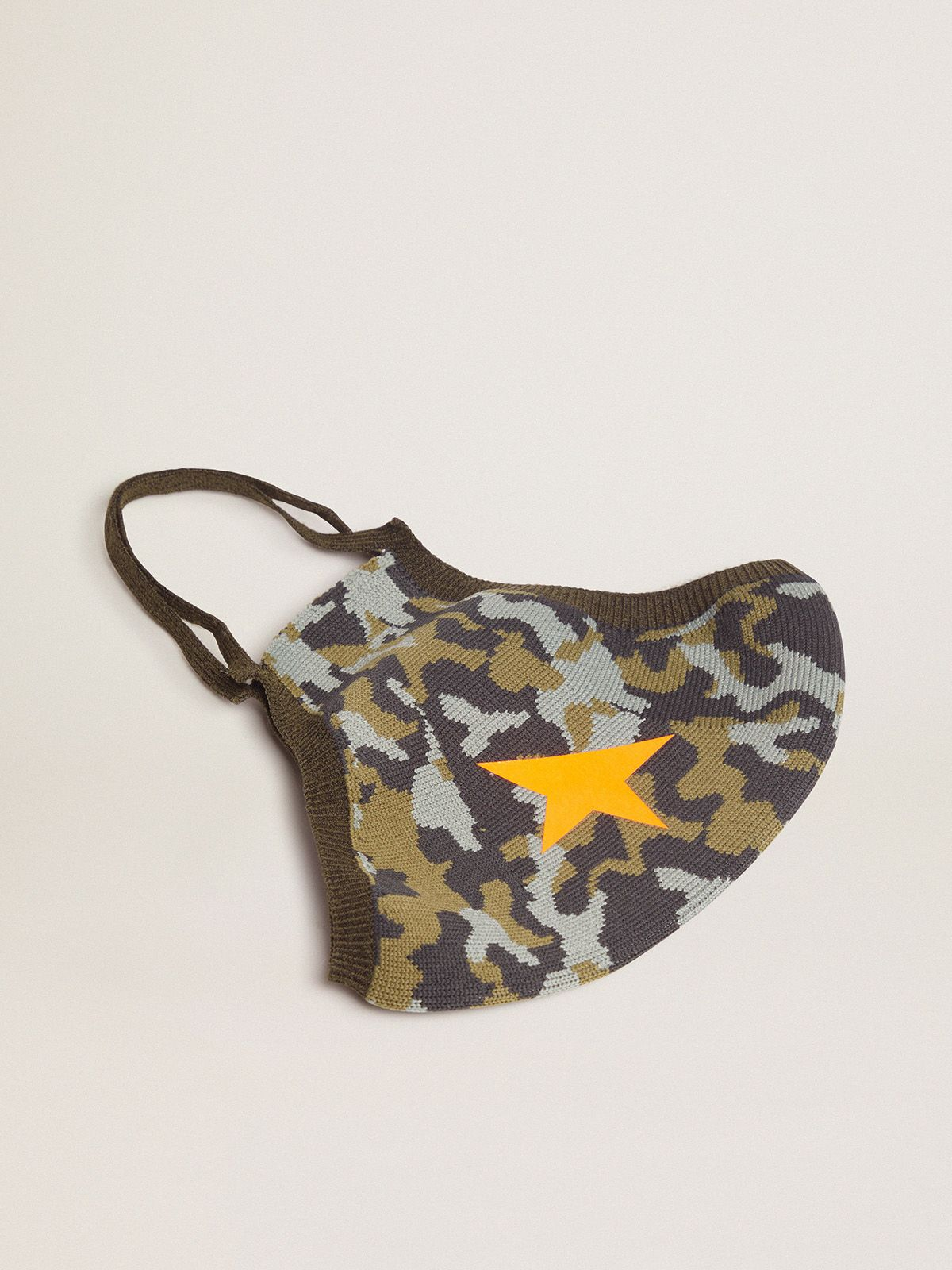 Golden Goose - Camouflage Golden face mask with orange star in