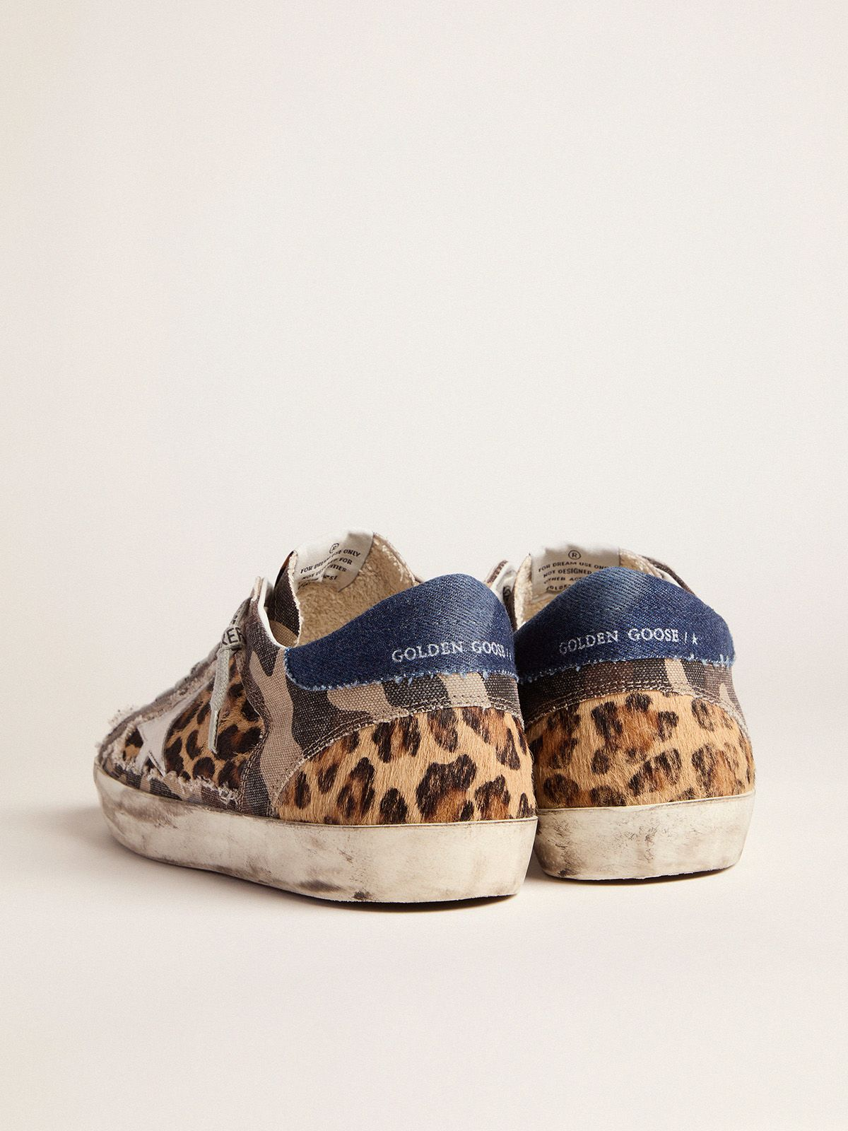 Golden Goose - Men's leopard-print and camouflage patchwork Super-Star sneakers in