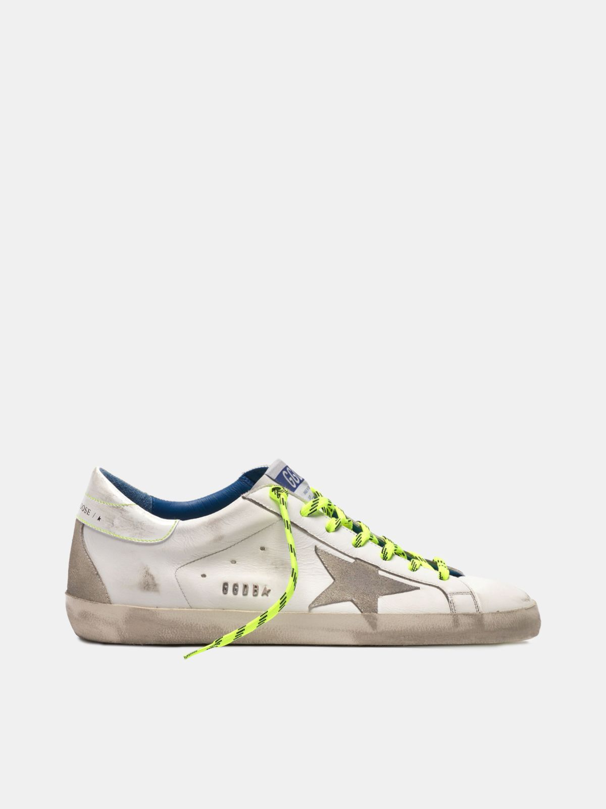 Golden Goose - Super-Stars sneakers with neon-yellow hiking laces in