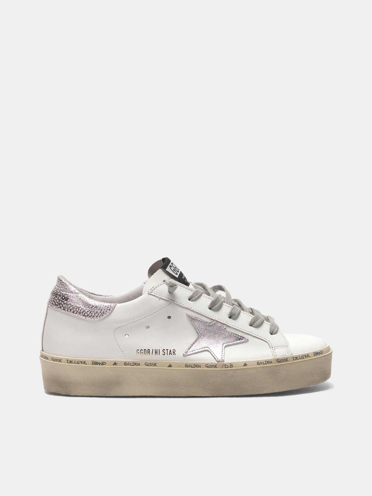 Sneakers Hi Star con stella e talloncino in argento metallizzato