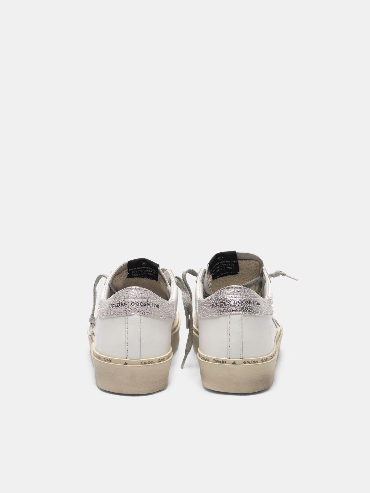 Golden Goose - Hi Star sneakers with star and heel tab in metallic silver in