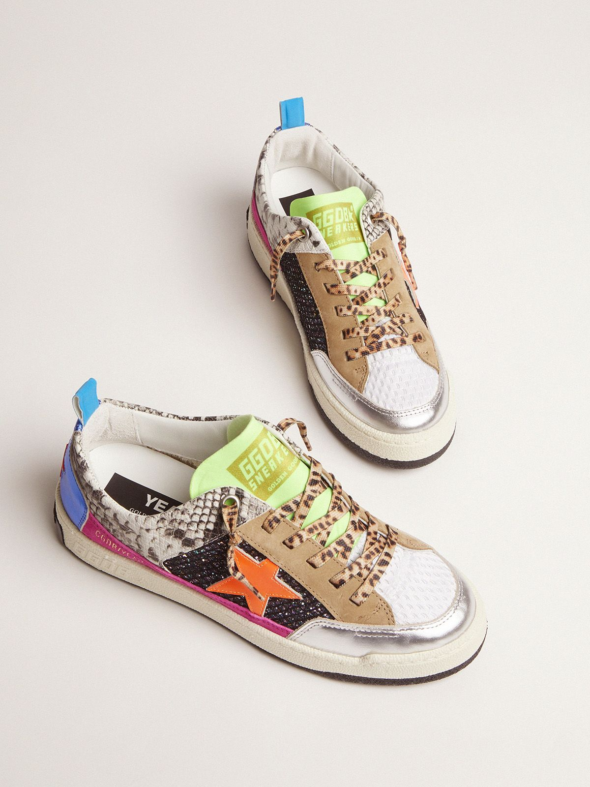 Golden Goose - Women's snakeskin-print Yeah sneakers with orange star in