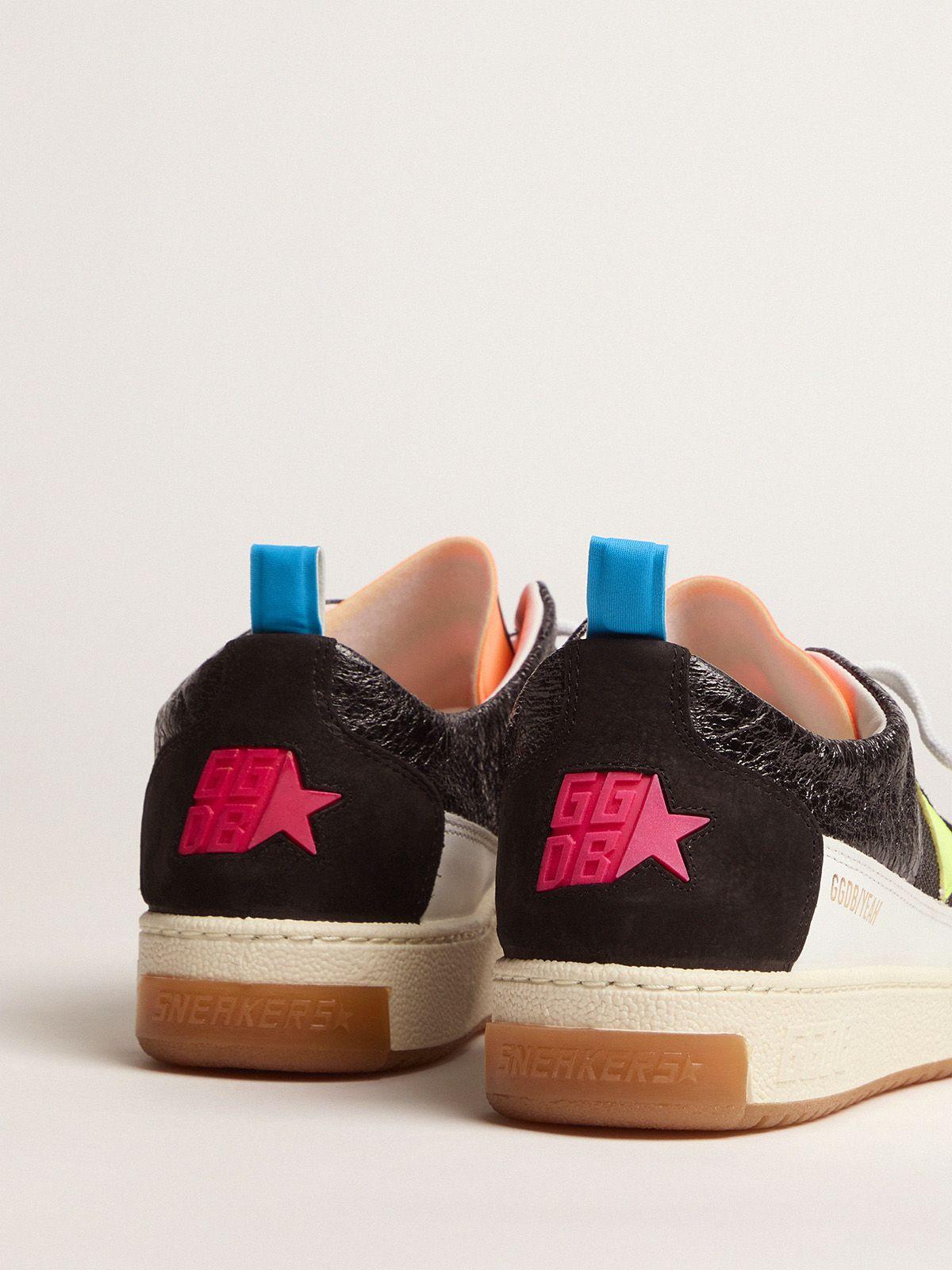 Golden Goose - Women's black Yeah sneakers with fluorescent yellow star   in