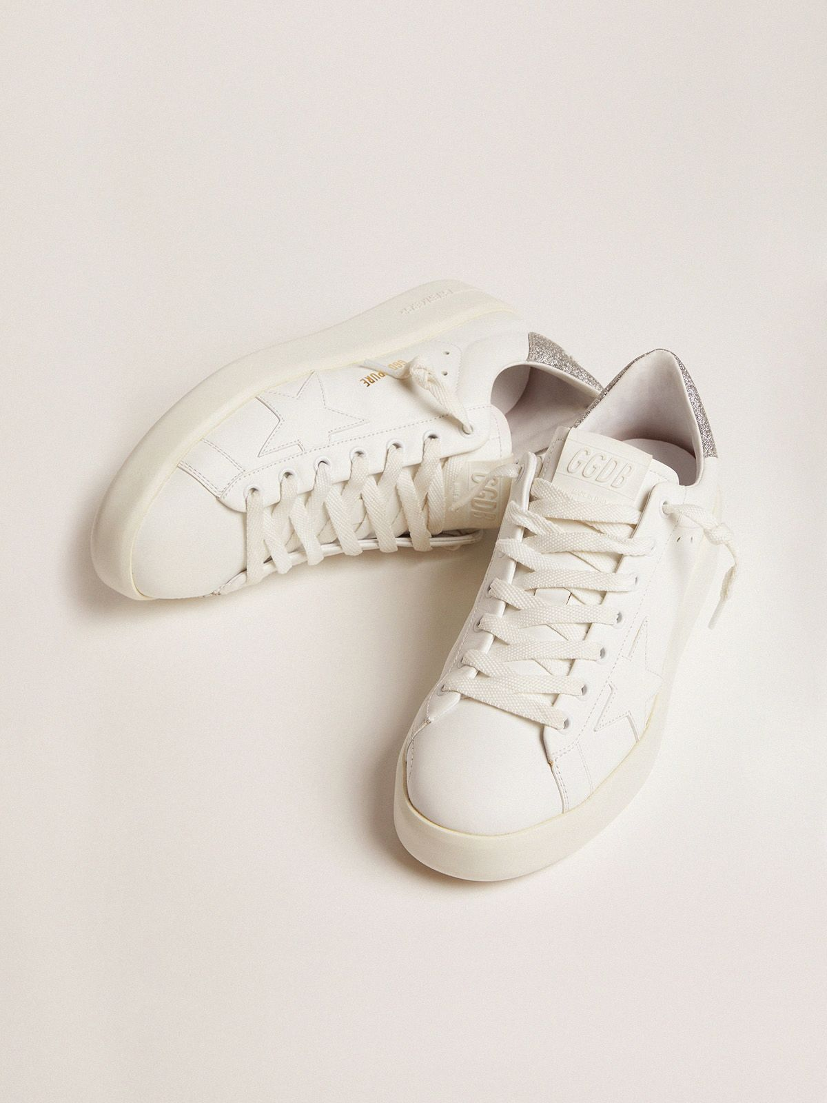 Golden Goose - PURESTAR sneakers with glittery silver heel tab in