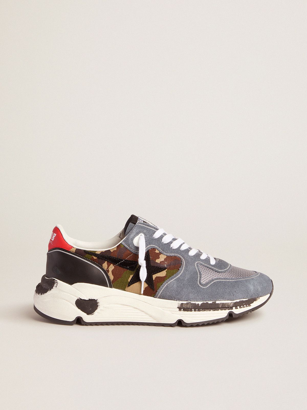 Camouflage Running Sole sneakers with textured nylon insert and red heel tab