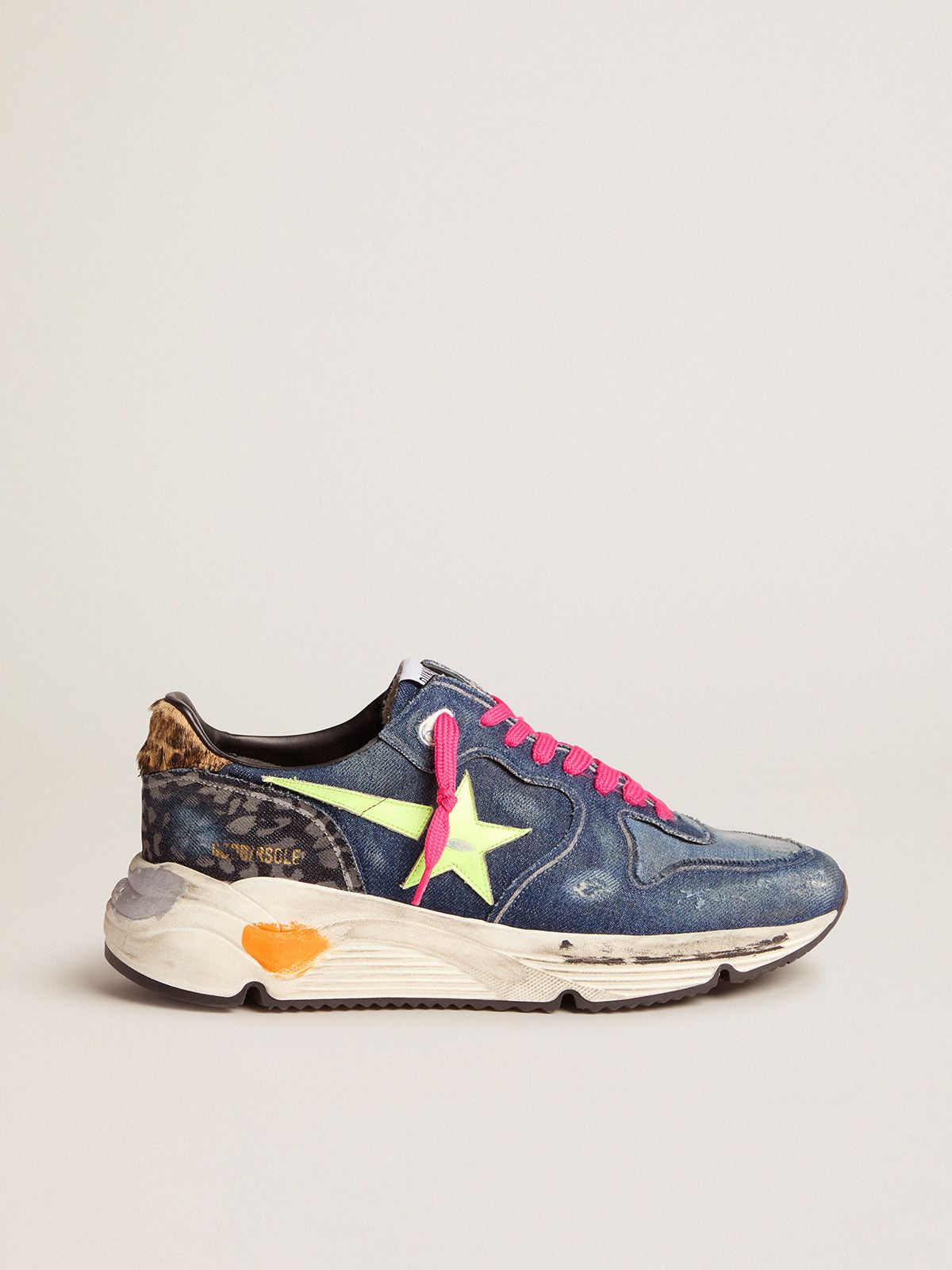 Denim Running Sole sneakers with a fluorescent yellow star and leopard-print pony skin heel tab