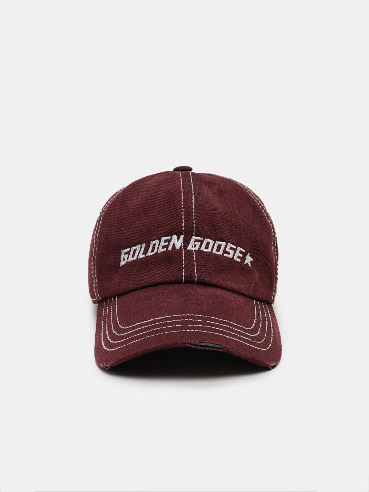 Aden burgundy baseball cap with contrasting logo