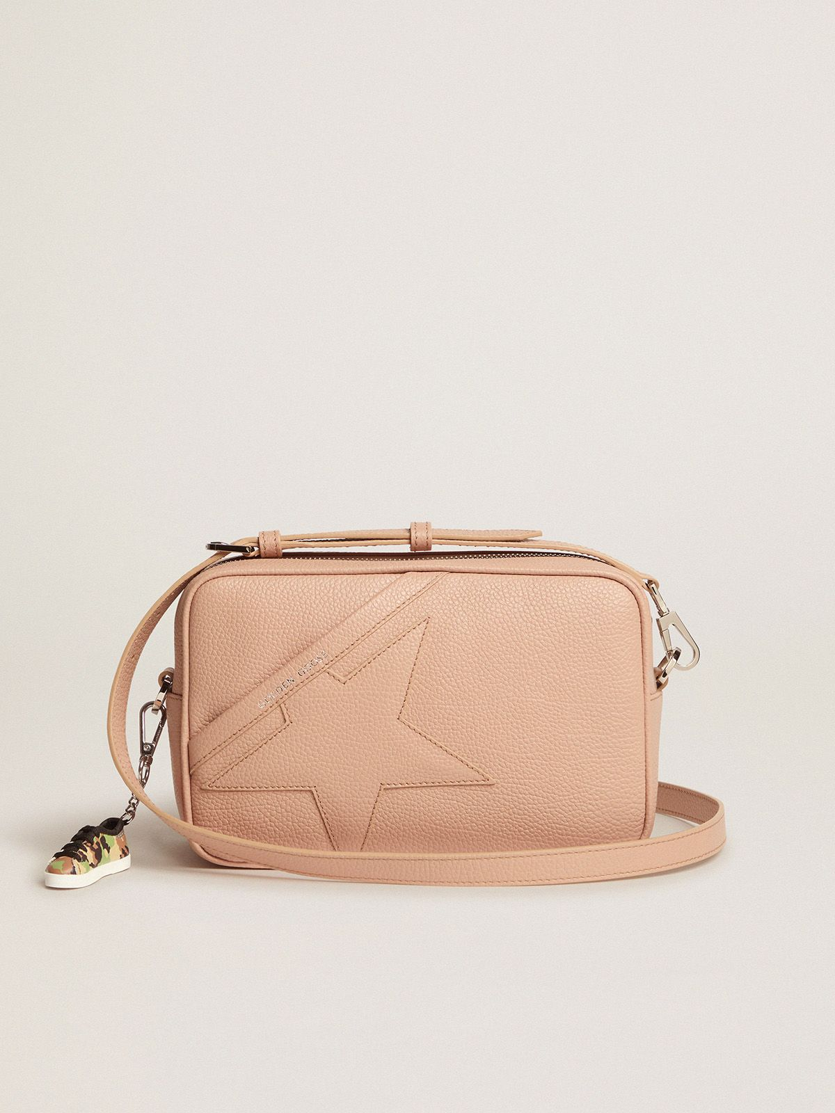 Golden Goose - Borsa Star Bag nude in pelle martellata in