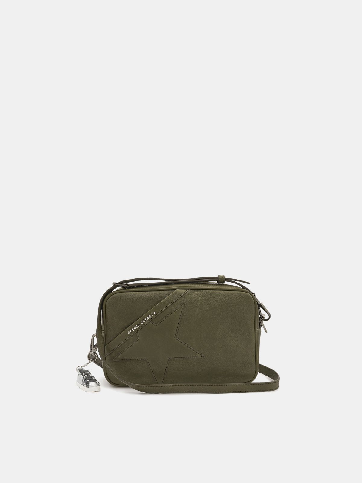 Army green Star Bag made of hammered leather