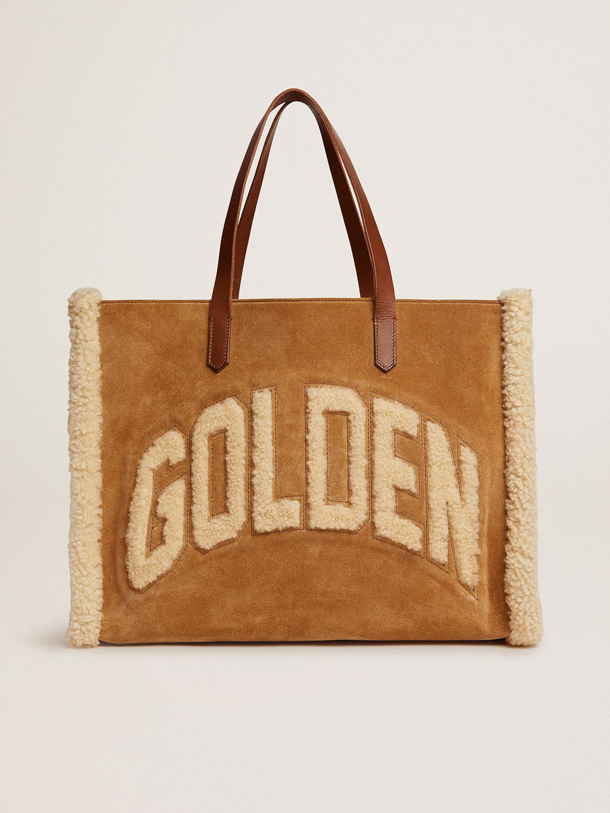 East-West California Bag in suede leather with shearling