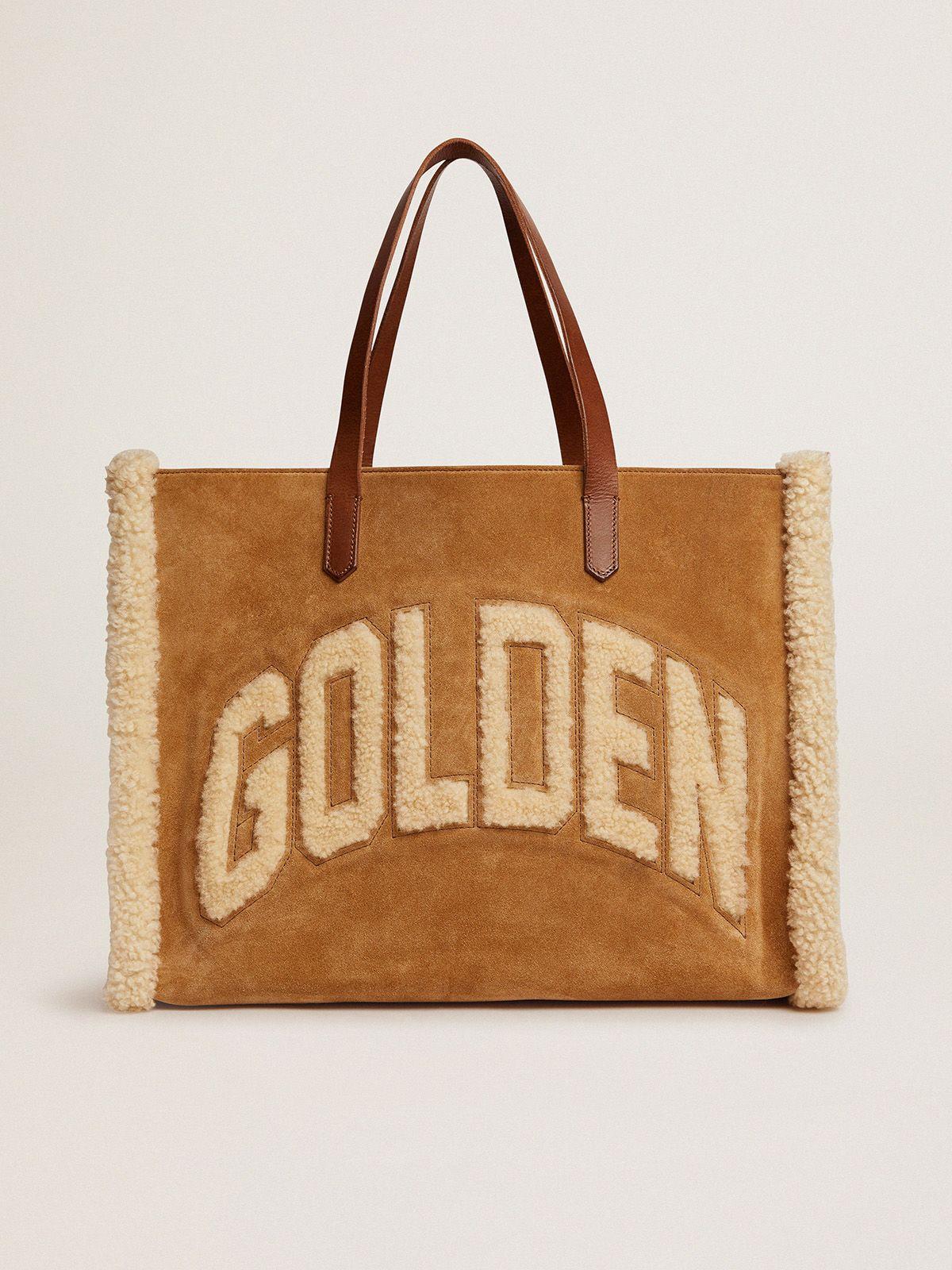 Golden Goose - Borsa California Bag East-West in pelle scamosciata con shearling in