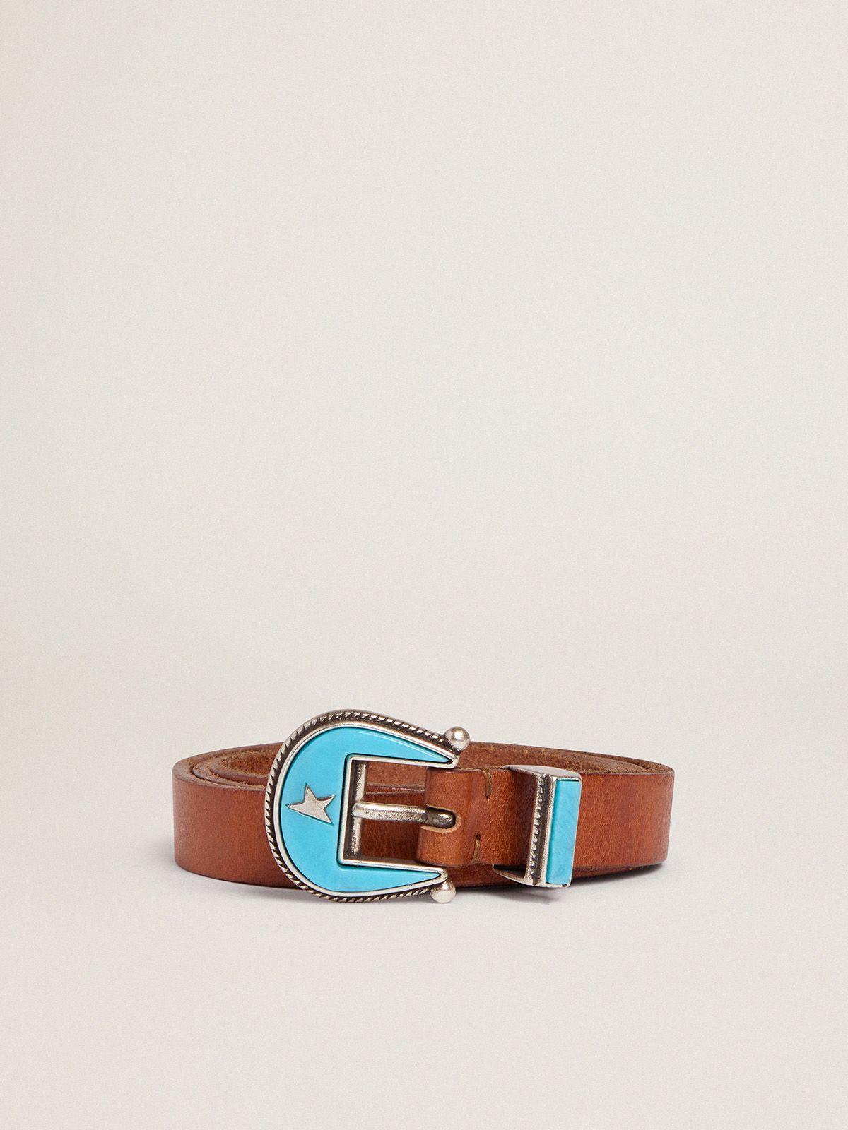 Cintura Rodeo in cuoio con fibbia azzurra