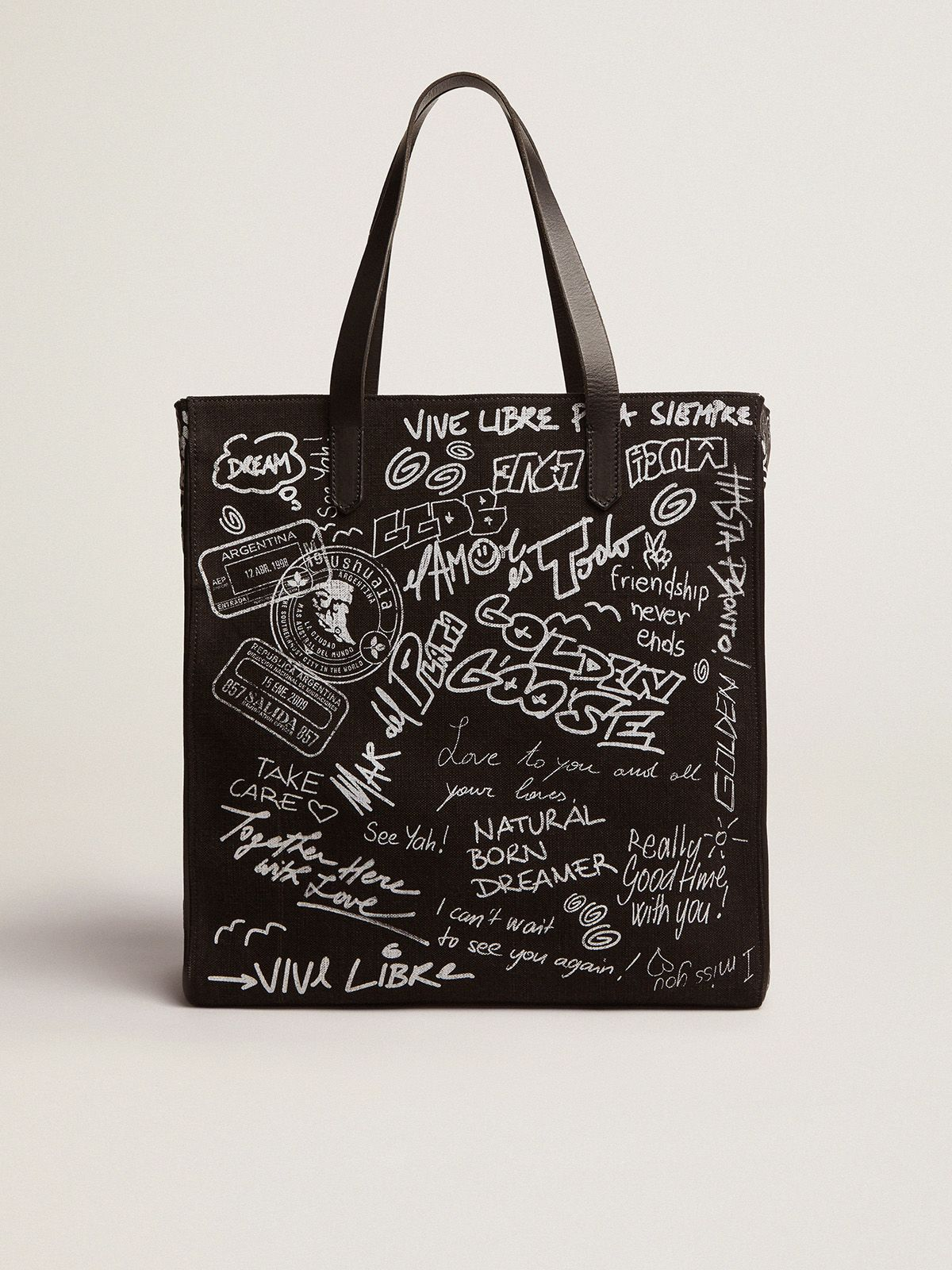 North-South California Bag in black canvas with graffiti