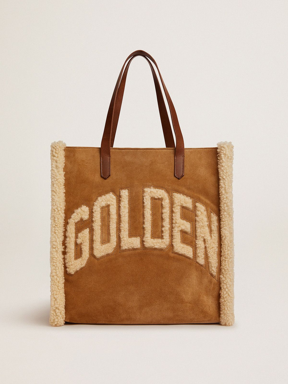 North-South California Bag in suede leather with shearling