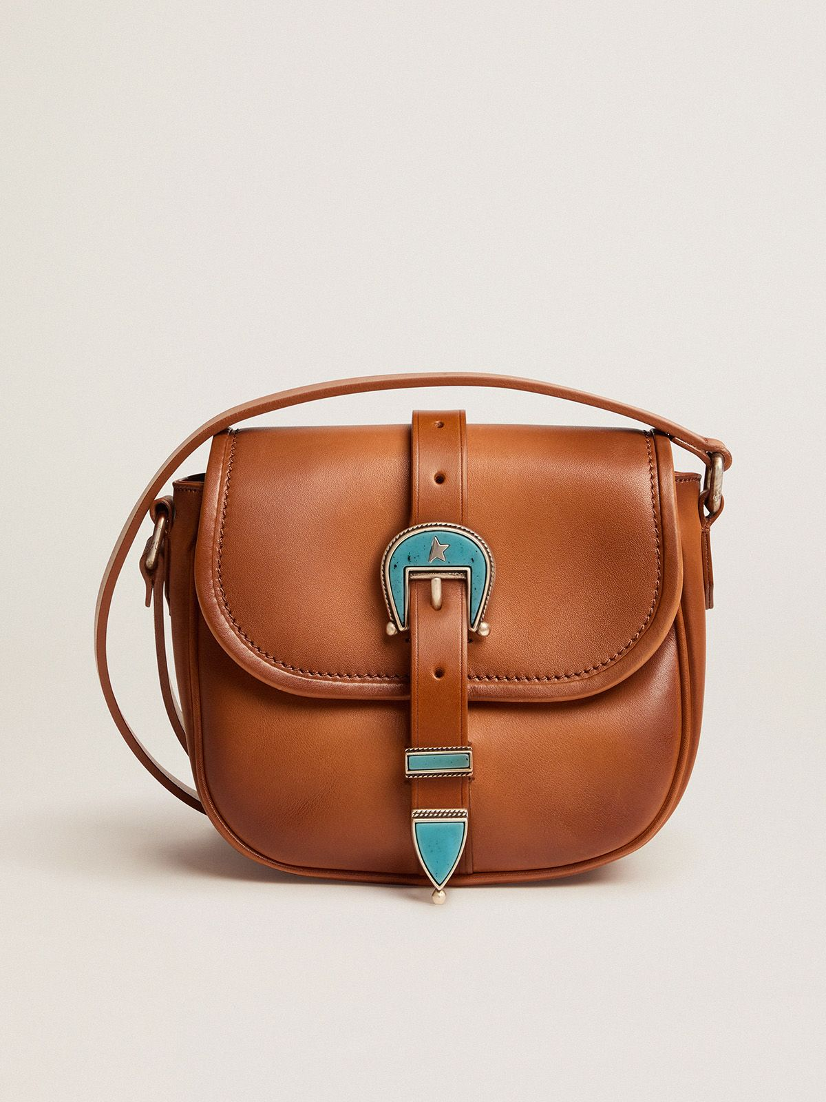 Small Rodeo Bag in pale tan leather with blue buckle