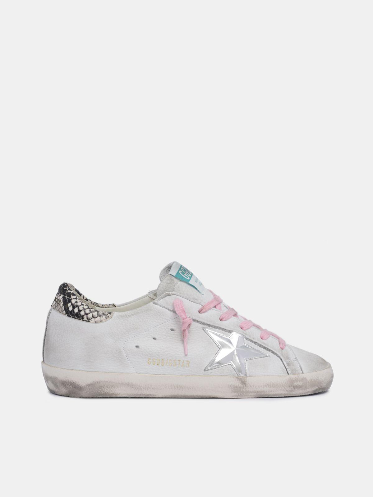 Sneakers Super-Star bianche con talloncino pitonato