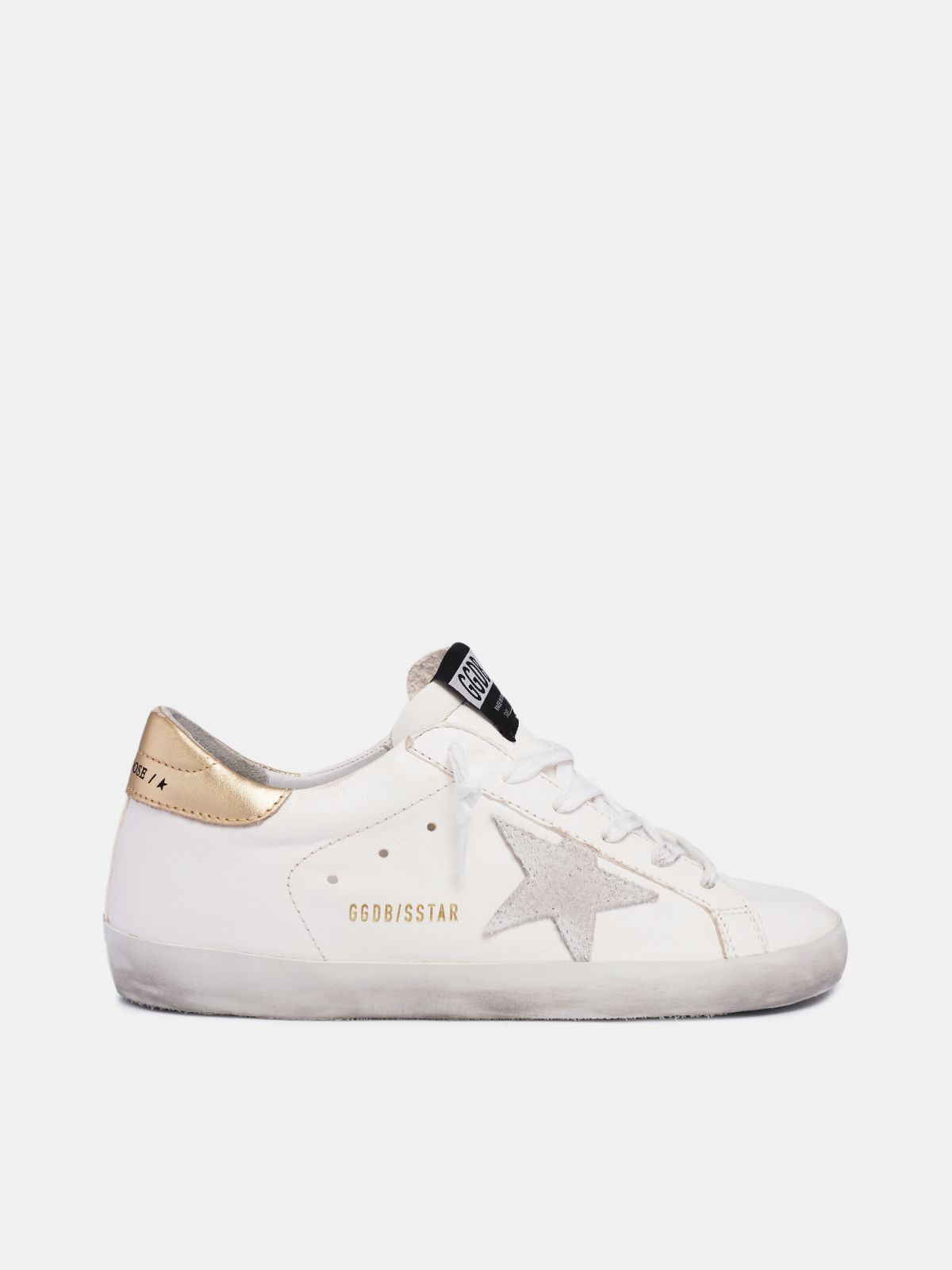 White Super-Star sneakers with gold heel tab