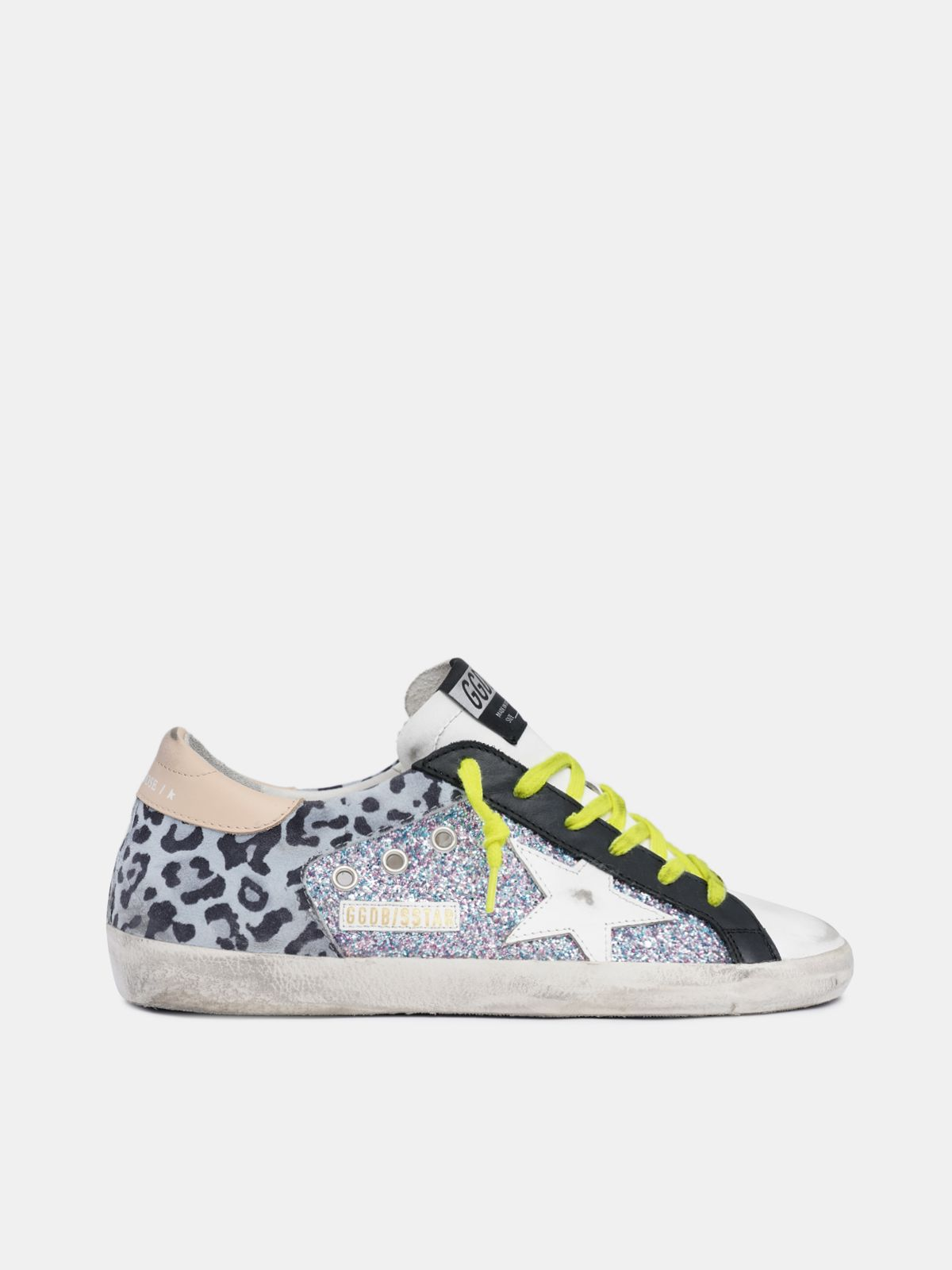 Leopard-print and glitter Super-Star sneakers