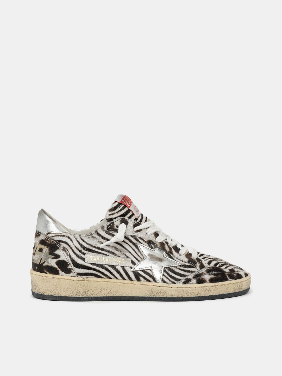 Jungle Ball Star sneakers in pony skin with silver laminated star