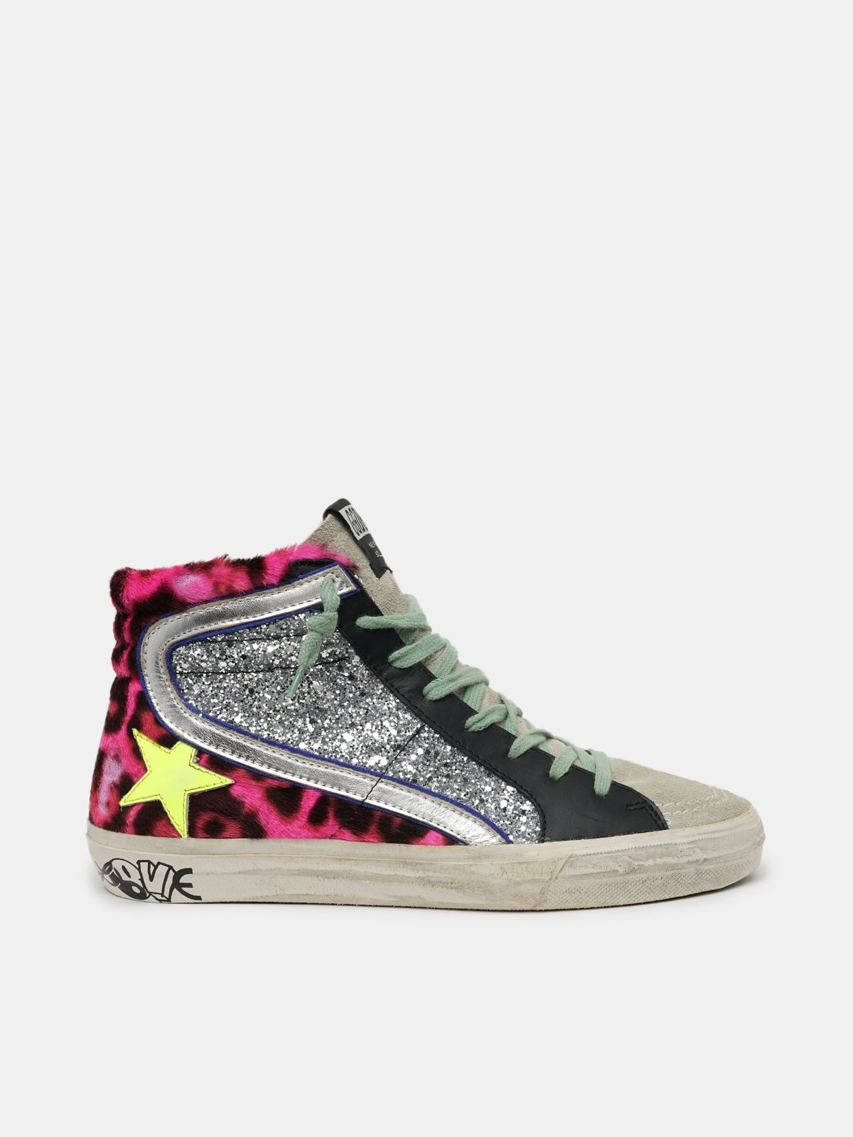 Francy sneakers with leopard-print pony skin upper and silver glitter inserts