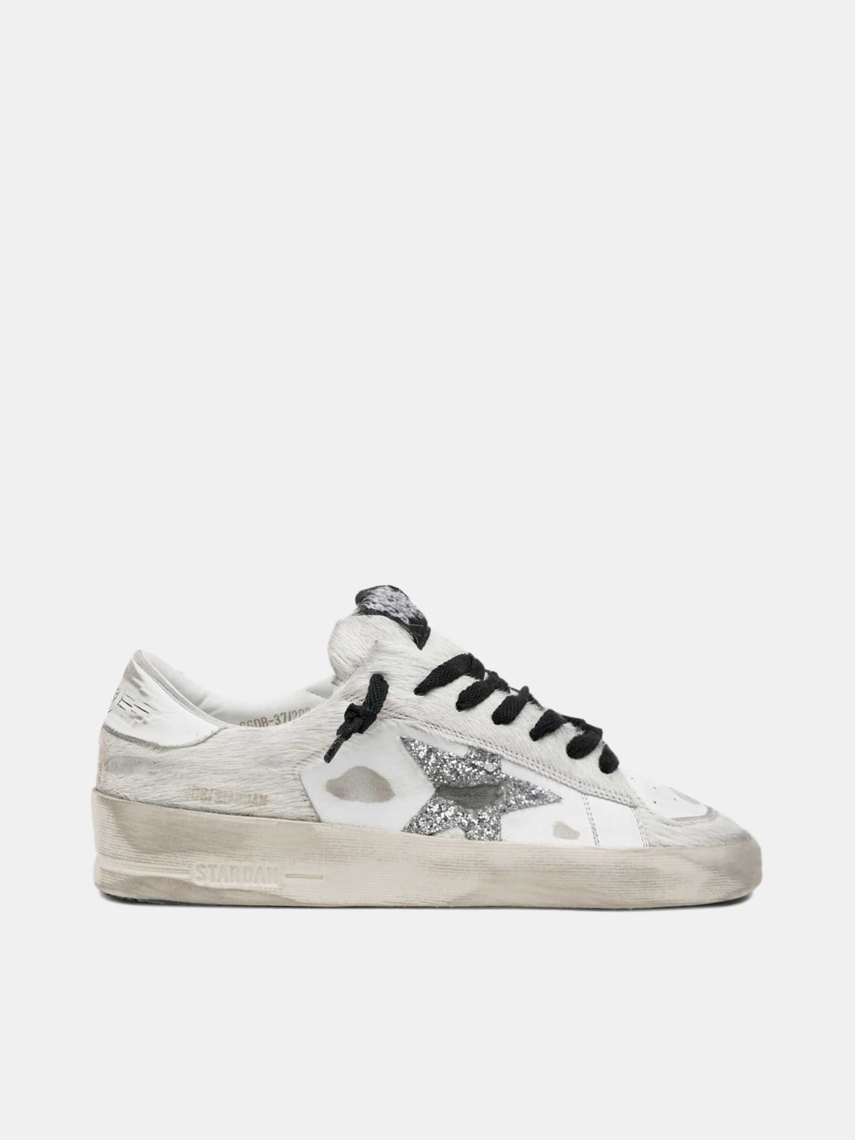 Golden Goose - White Stardan sneakers with glitter star in