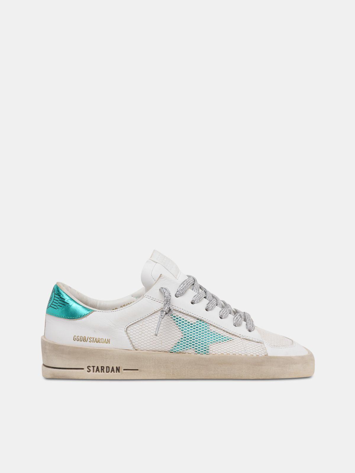 White and aqua-green Stardan sneakers