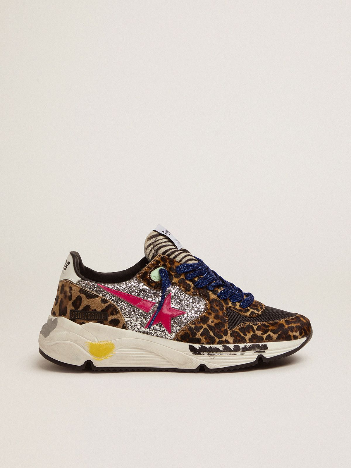 Running Sole sneakers in leopard-print pony skin with silver glitter inserts.