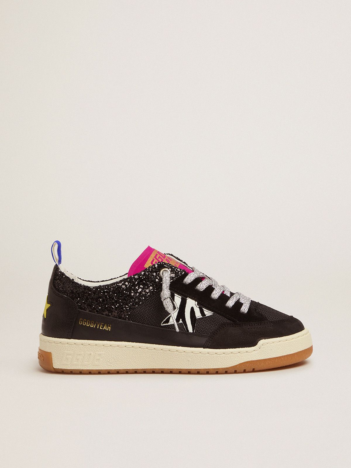 Women's black Yeah sneakers with glitter and zebra-print star