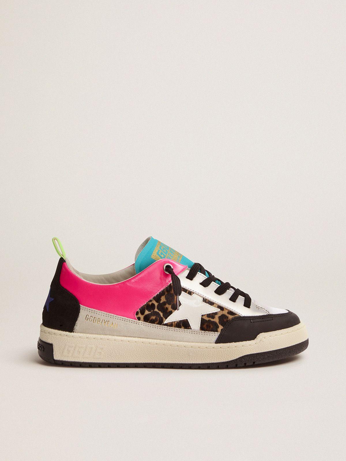 Women's fuchsia and leopard-print Yeah sneakers