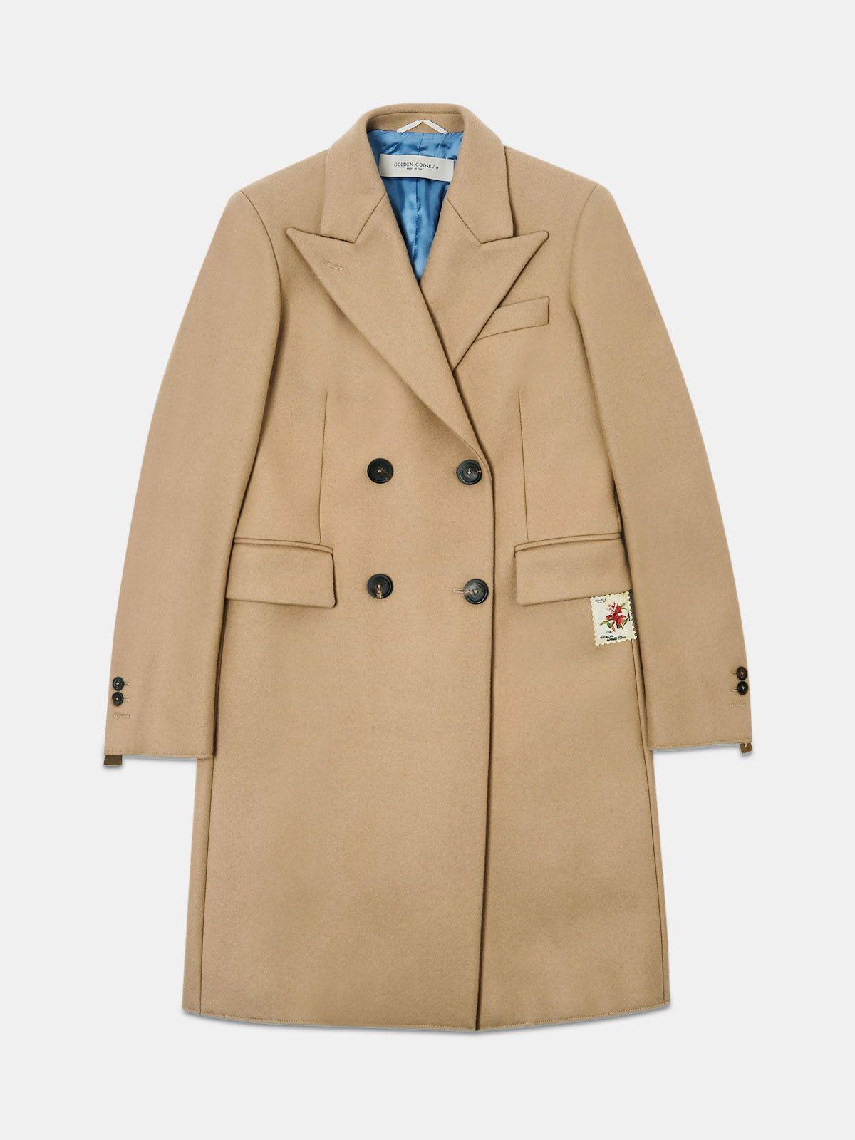 Golden Goose - Cappotto Alena in lana vergine beige in