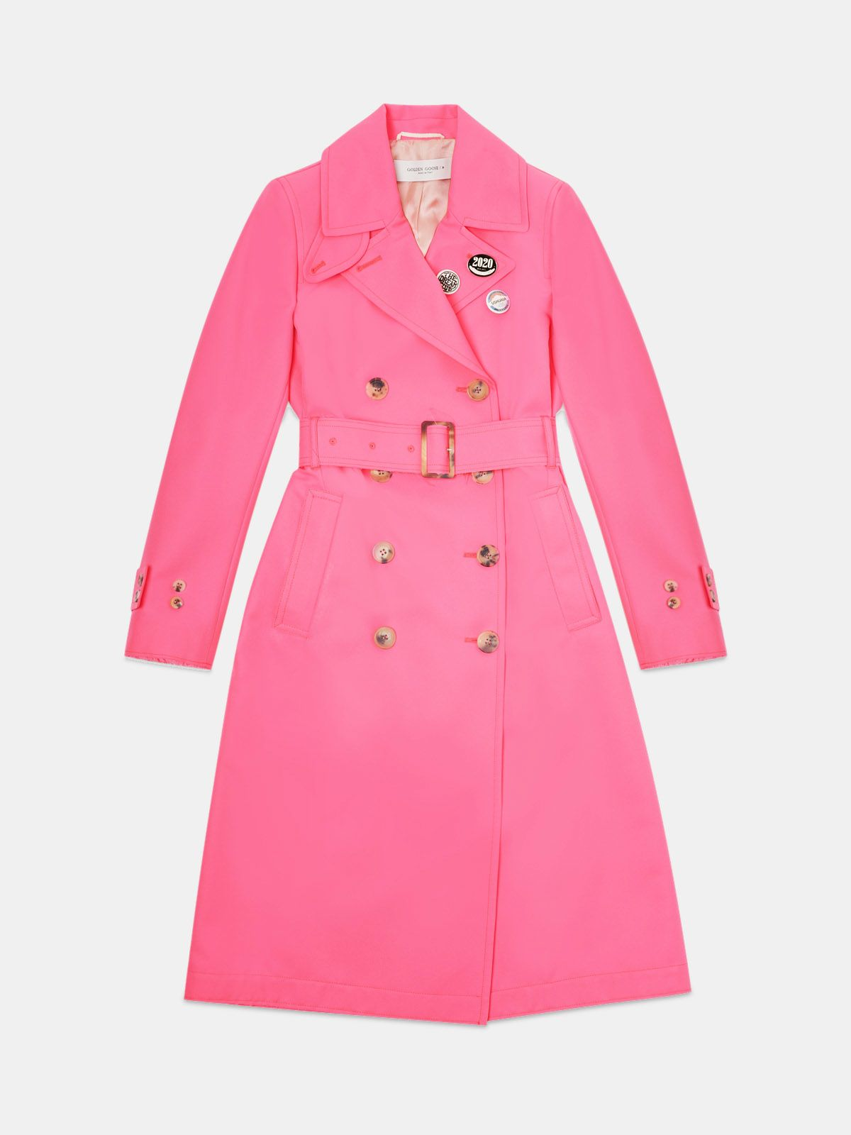 Golden Goose - Trench Abigail in tessuto fucsia con spille in