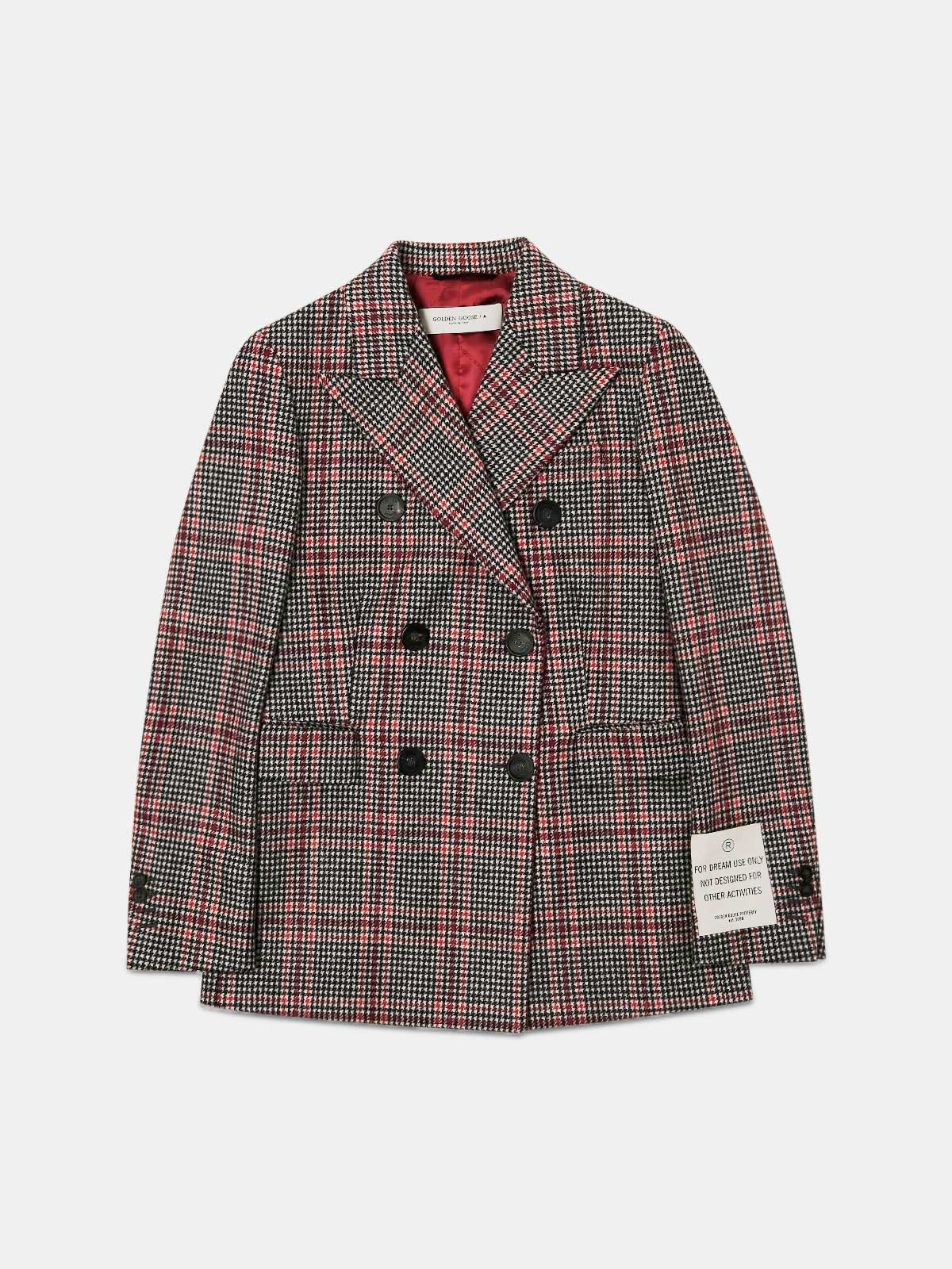 Annabella double-breasted blazer with houndstooth tartan pattern