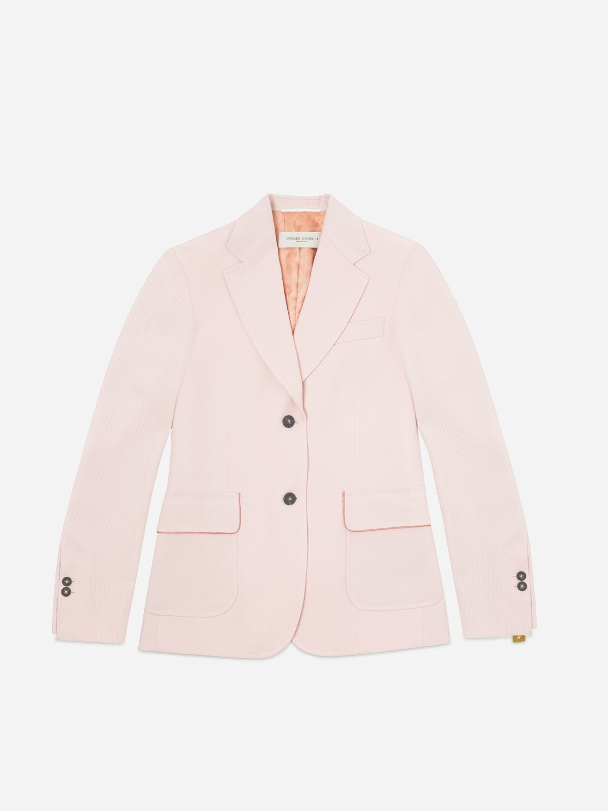 Golden Goose - Blazer Annachiara in twill di lana vergine rosa in