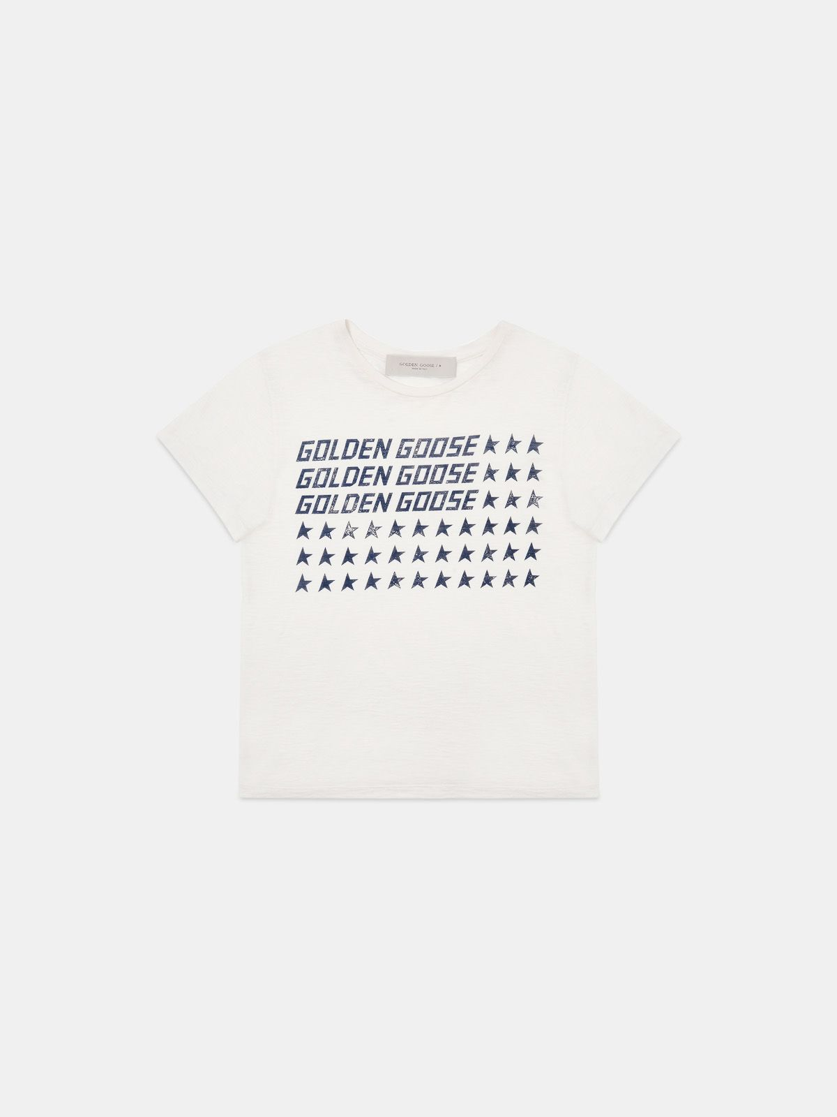 Golden Goose - White Golden T-shirt with vintage flag print in