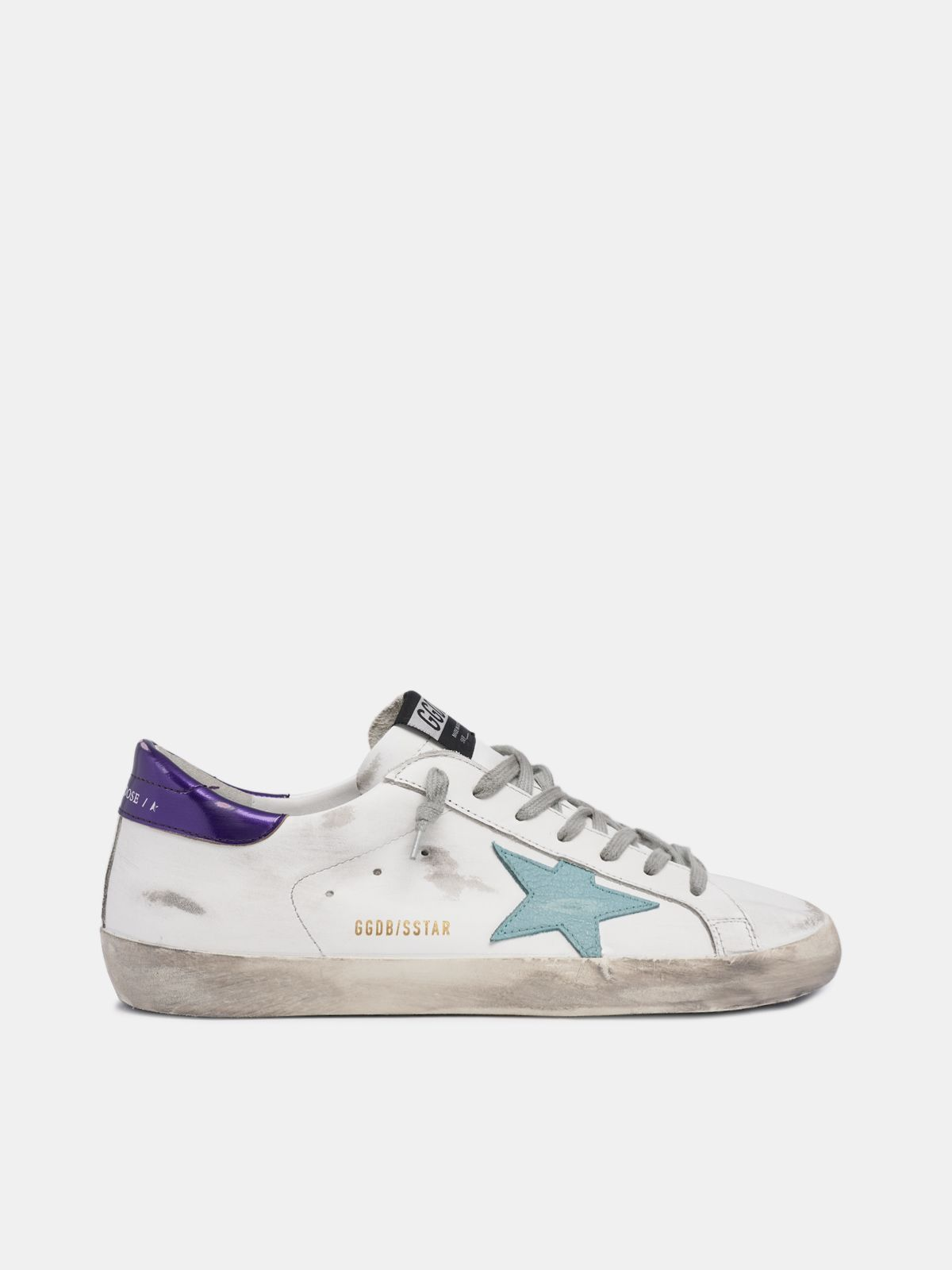 Golden Goose - White Super-Star sneakers with blue star in