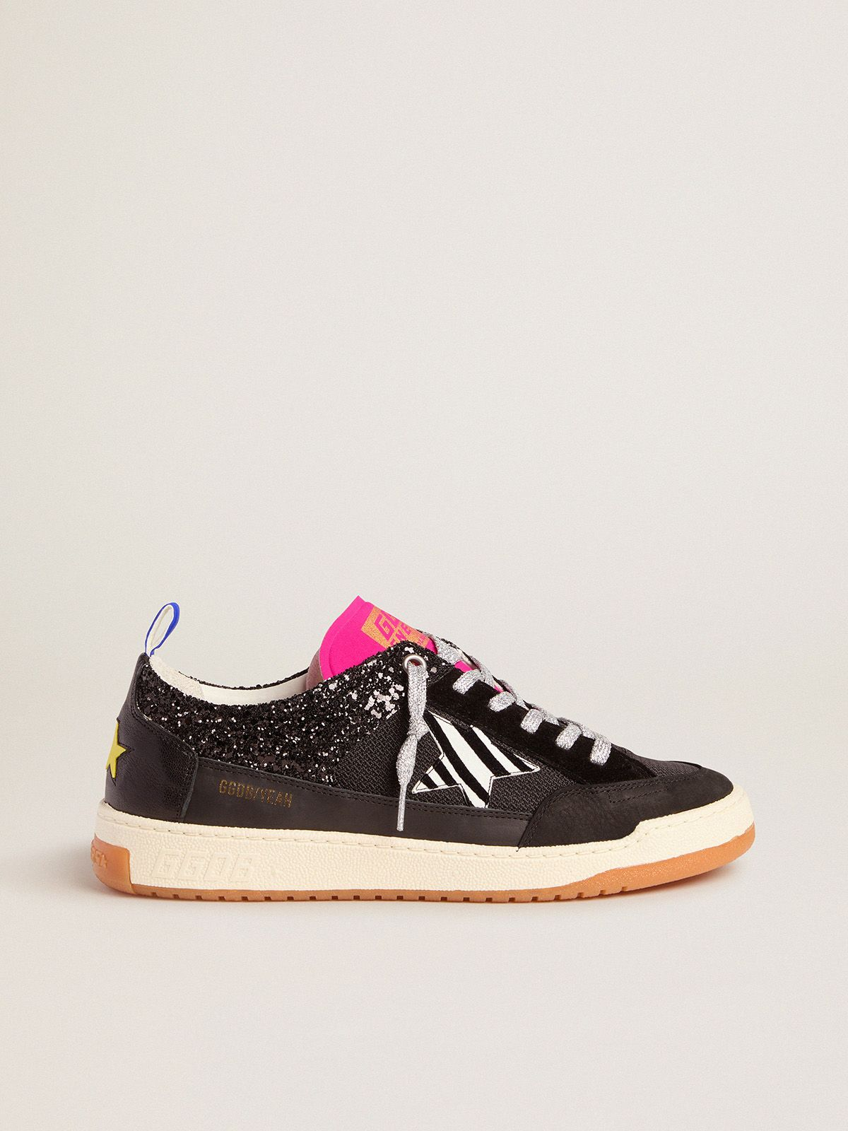 Men's black Yeah sneakers with glitter and zebra-print star