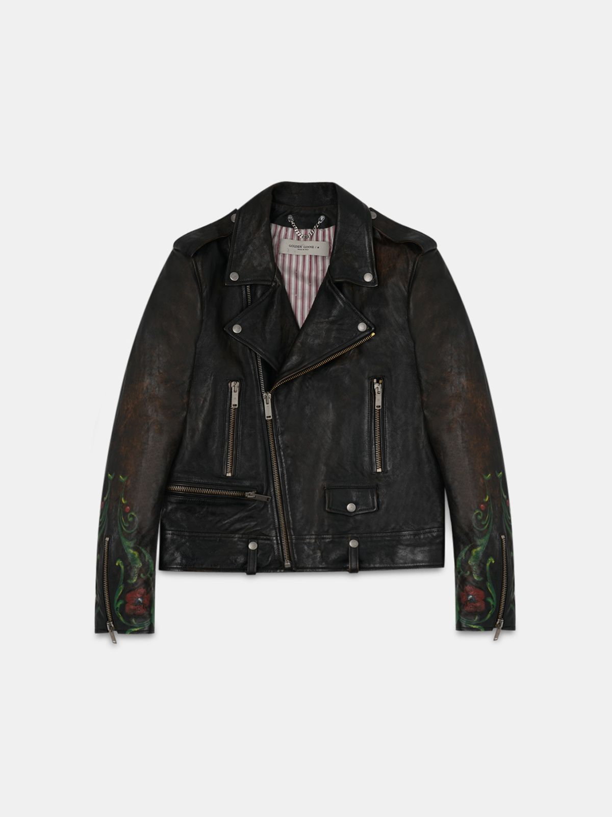 Arden leather biker jacket with hand-painted details