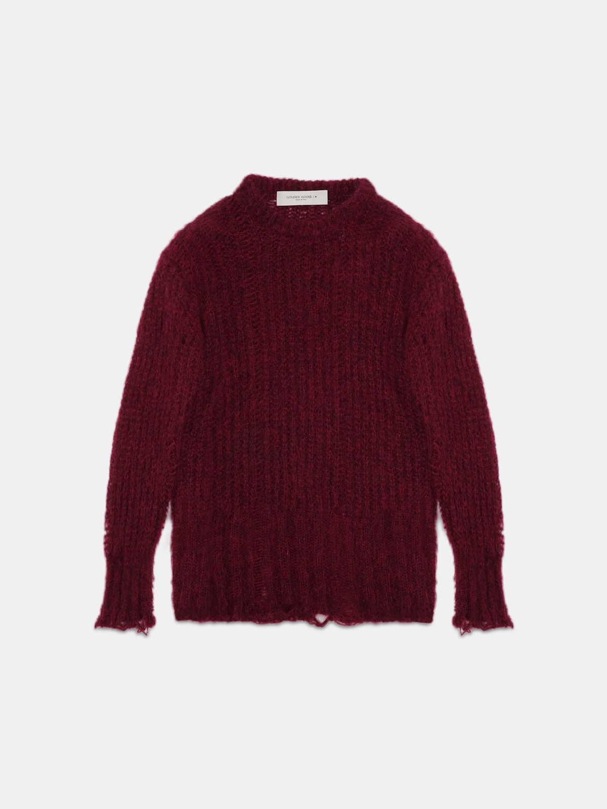 Algar sweater in burgundy mohair wool