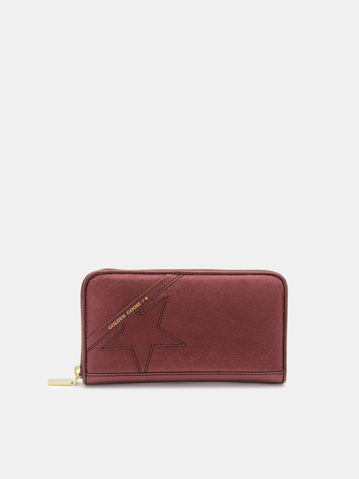 Large burgundy Star Wallet in laminated leather