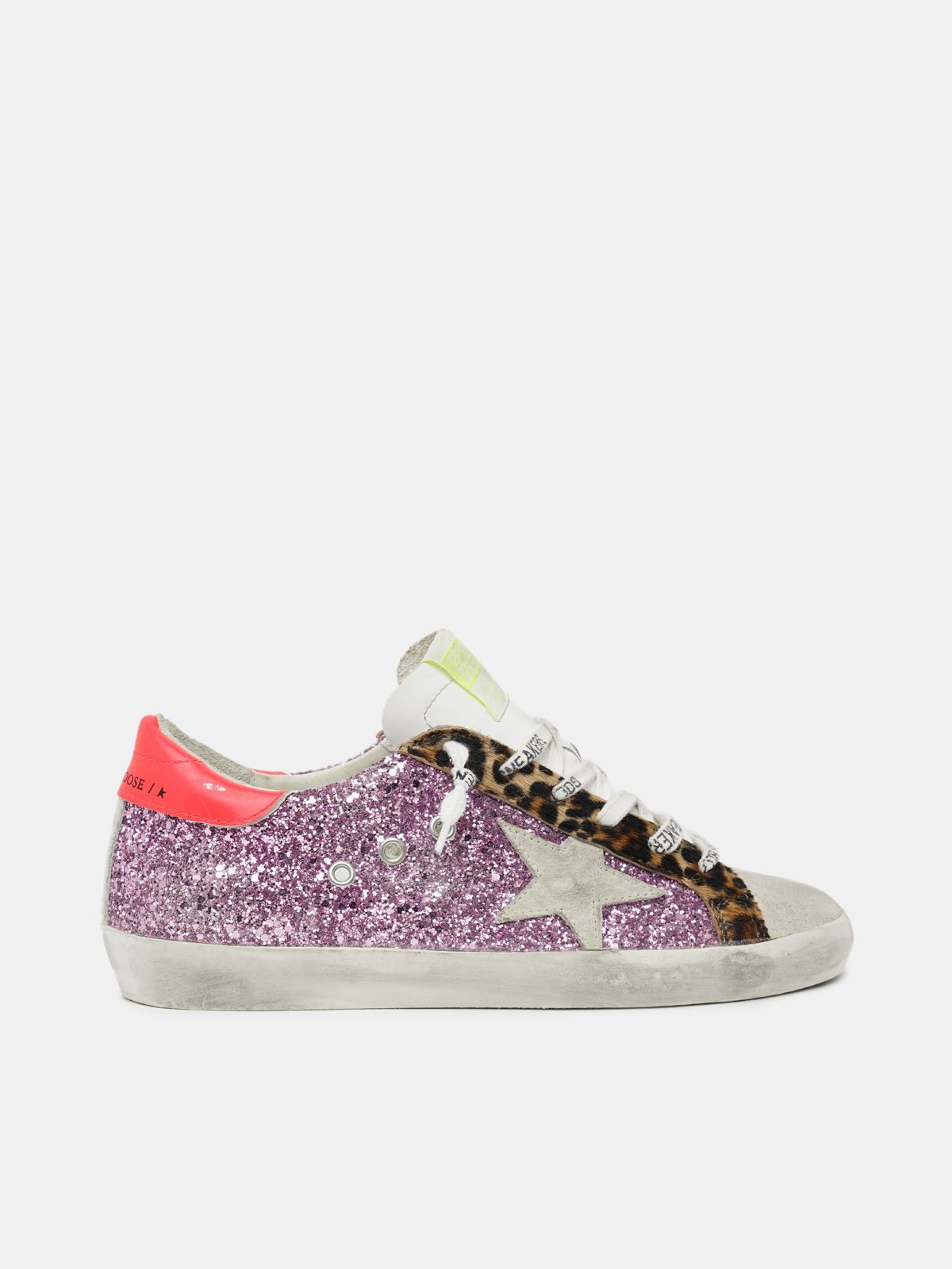 Golden Goose - Sneakers super-Star con glitter rosa e inserti in cavallino stampa leo in