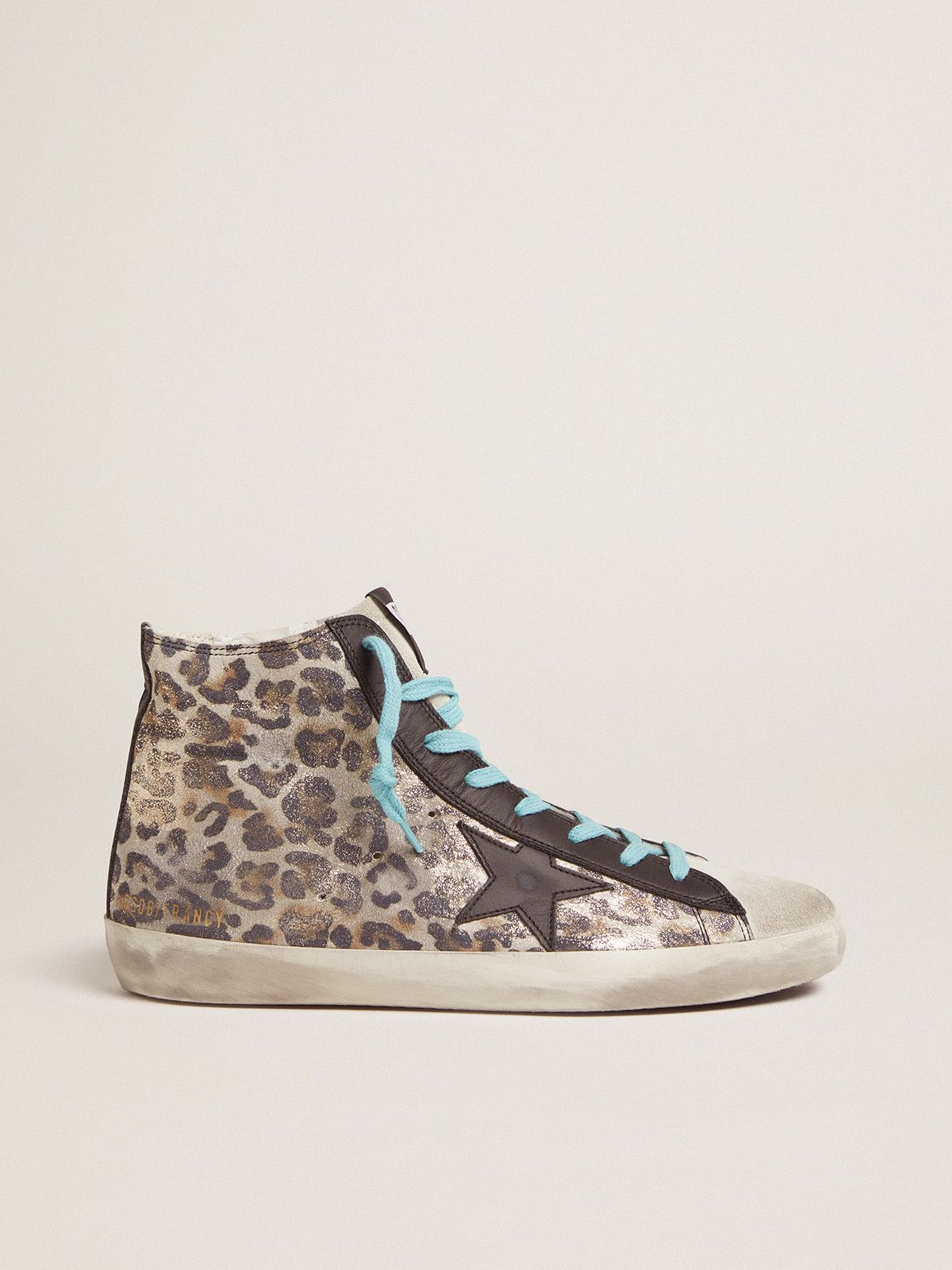 Leopard-print Francy sneakers with blue laces