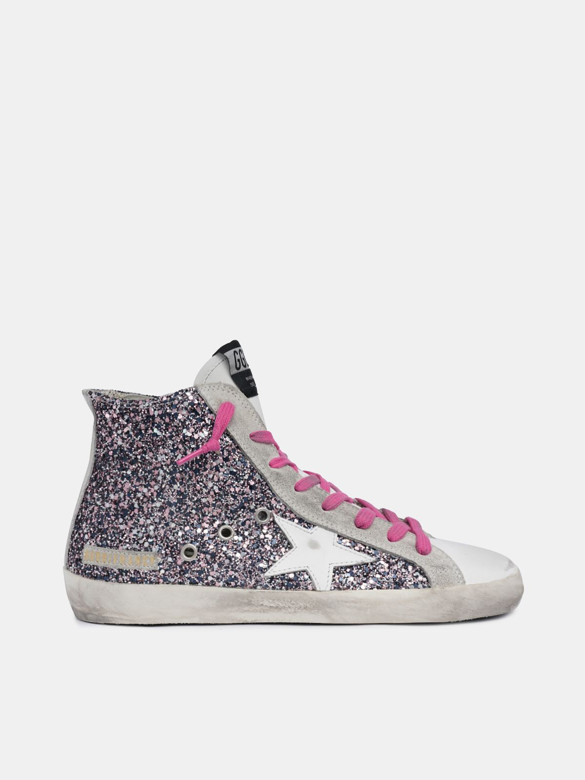 Francy sneakers with multicolour glitter and fuchsia laces