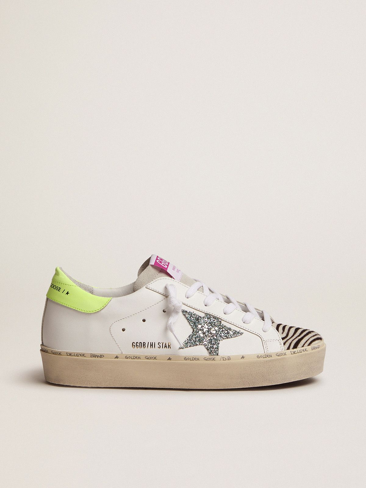 Hi Star sneakers with blue glitter star and zebra-print pony skin insert