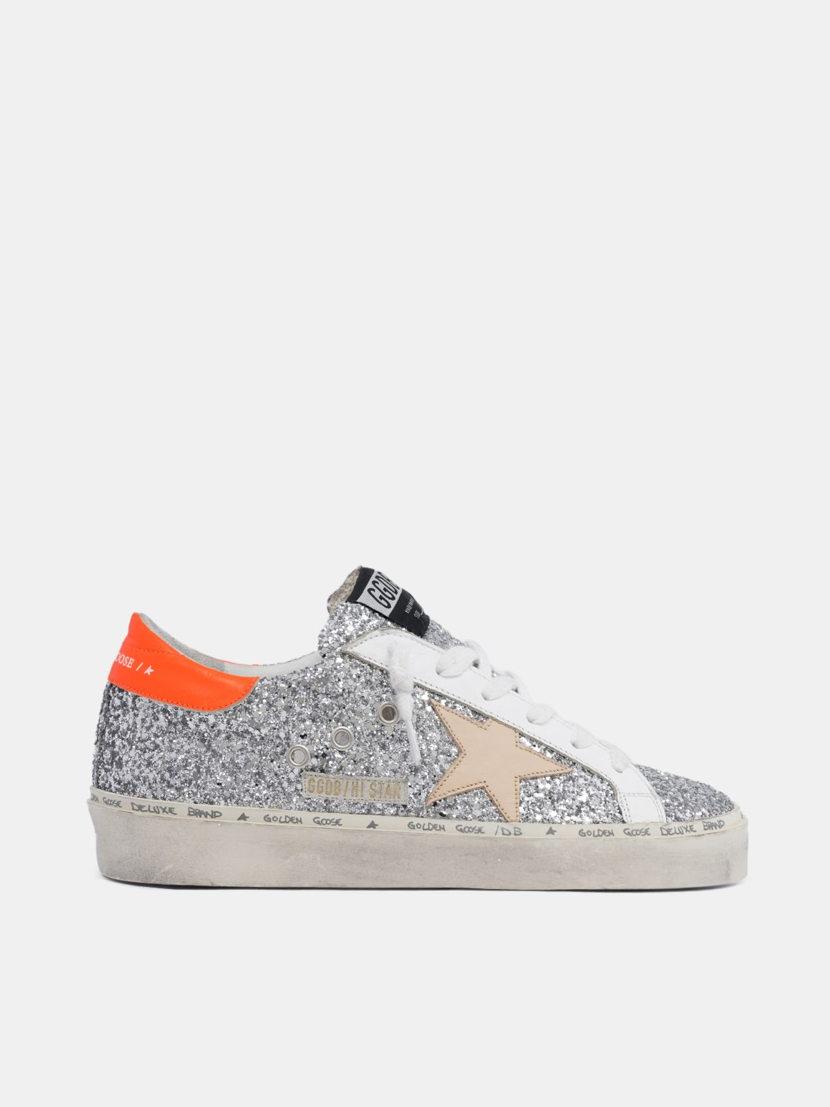 Hi Star sneakers with glitter and orange heel tab