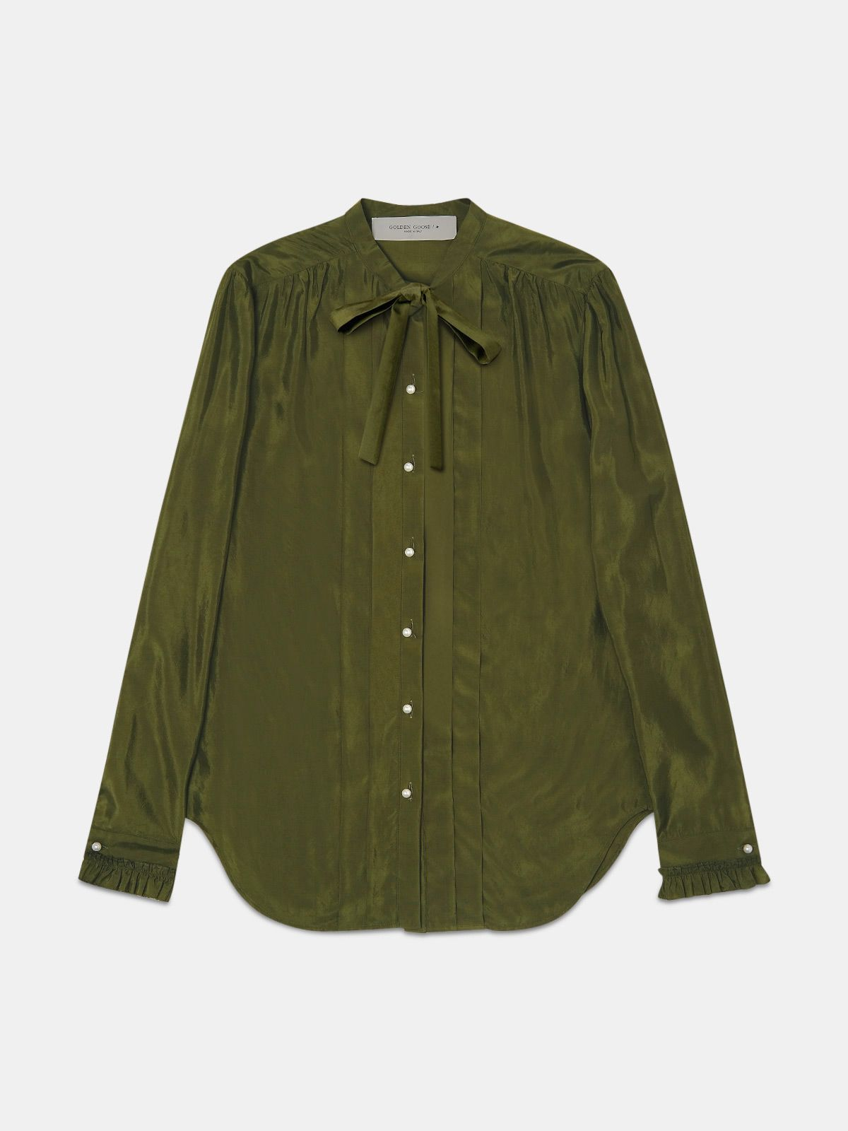 Alessia shirt in military green cupro