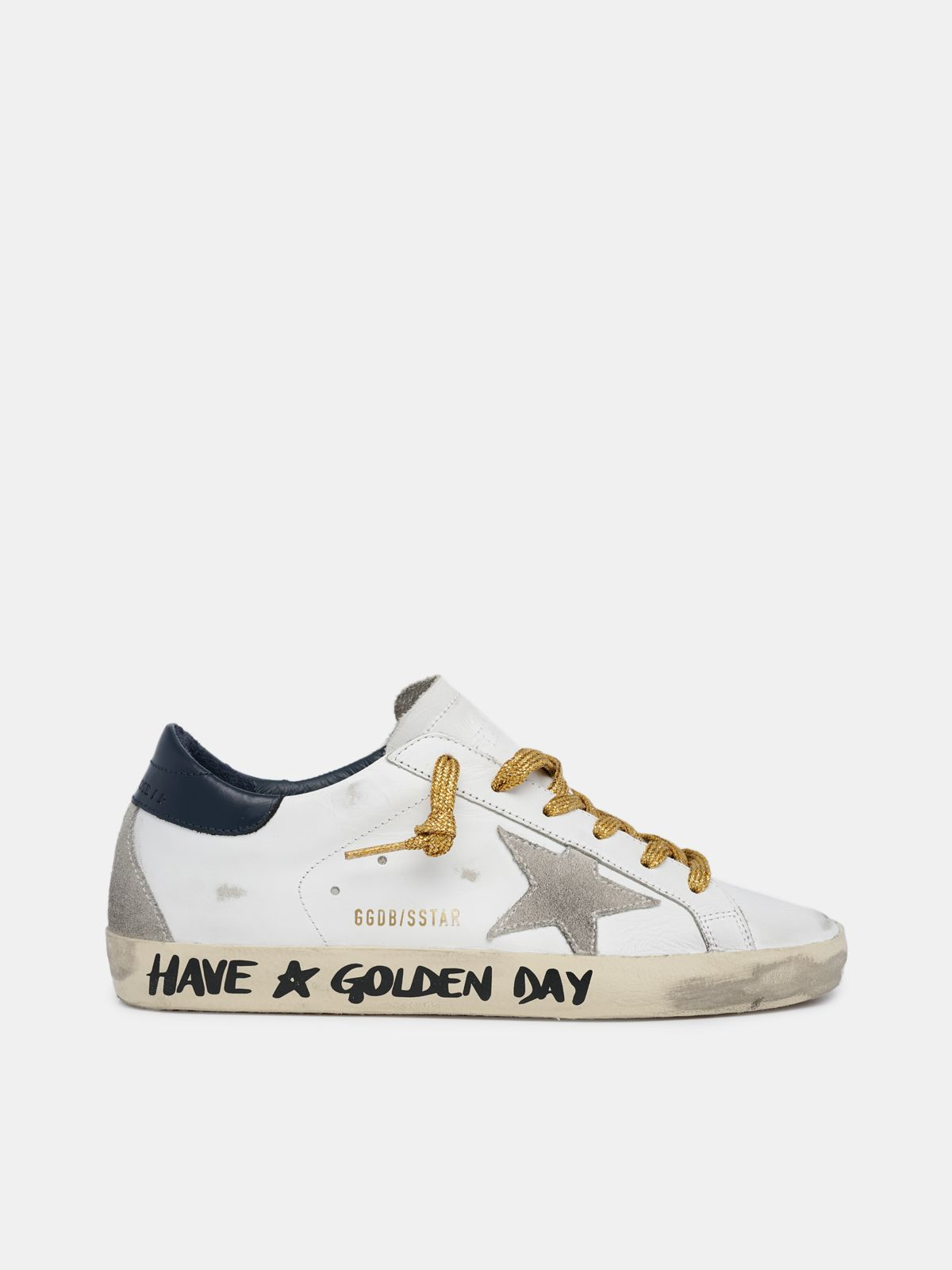 Super-Star sneakers with handwritten Have a Golden Day lettering